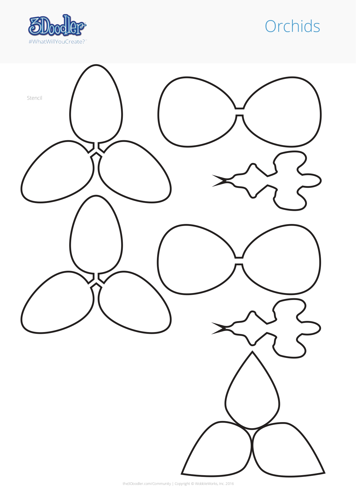3D Pen Stencil Template Orchids