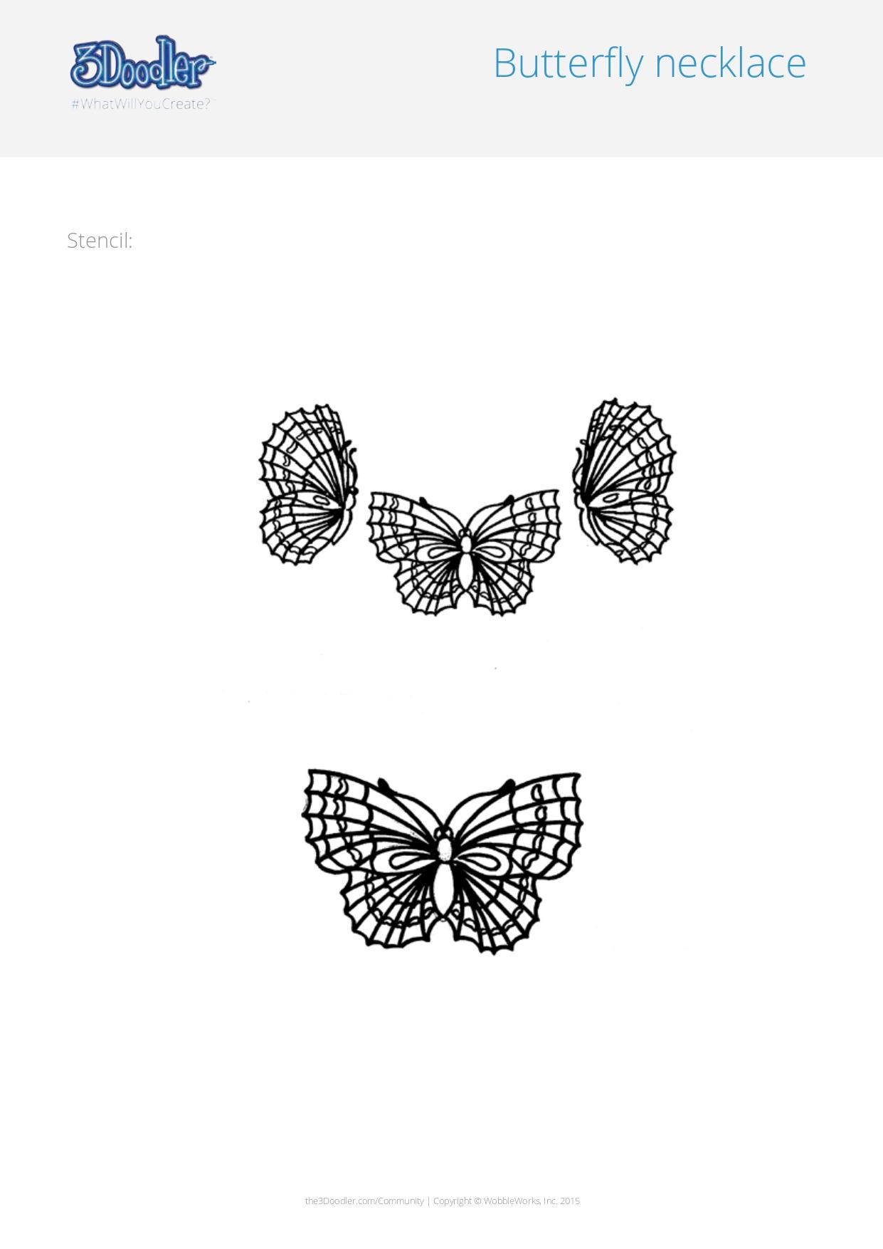 3D Pen Stencil Template Butterfly Necklace