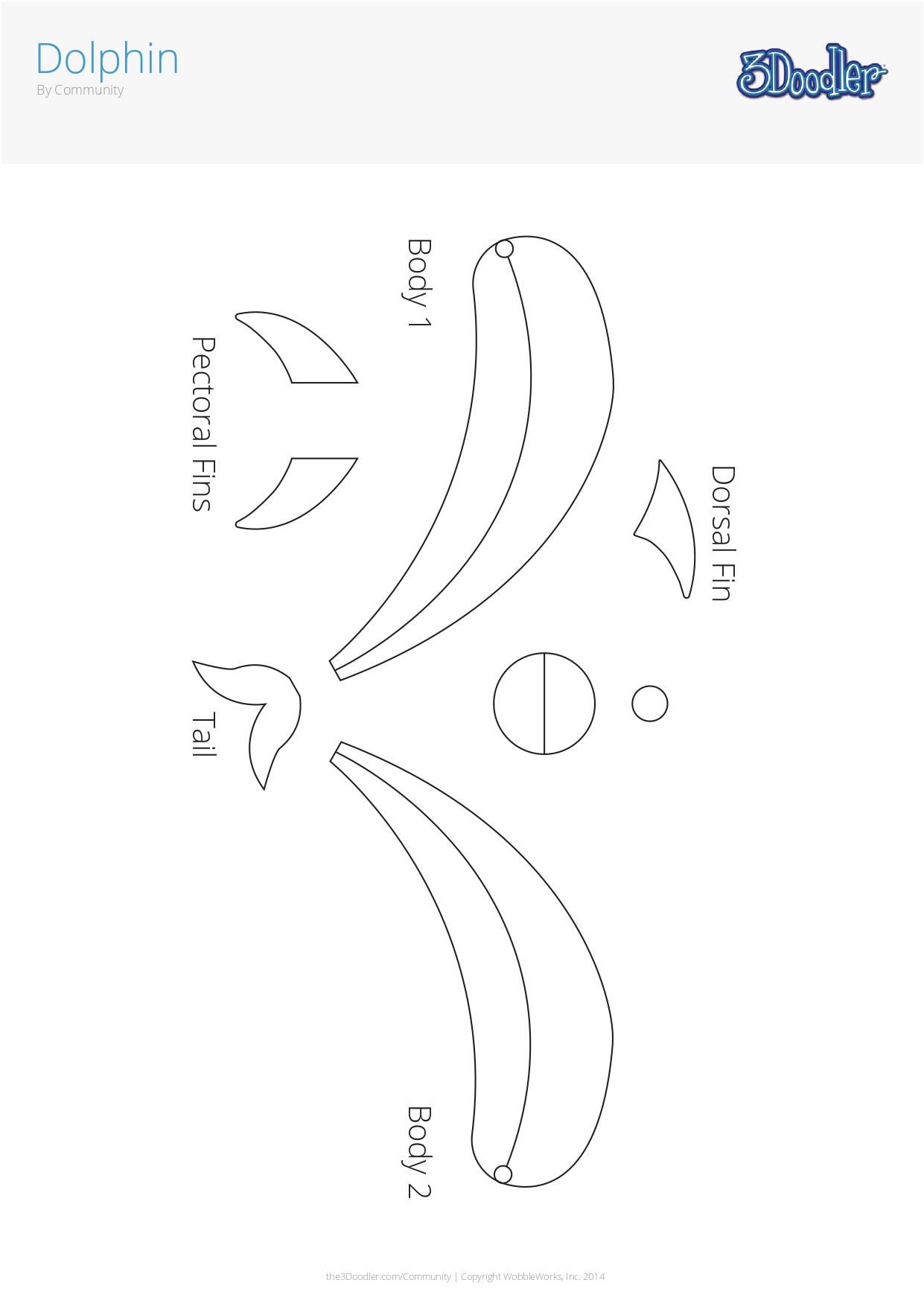 3D Pen Stencil Template Dolphin