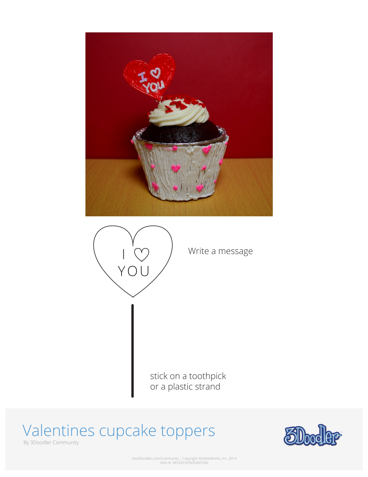 3D Pen Stencil Template Valentine's Day Cupcake Toppers