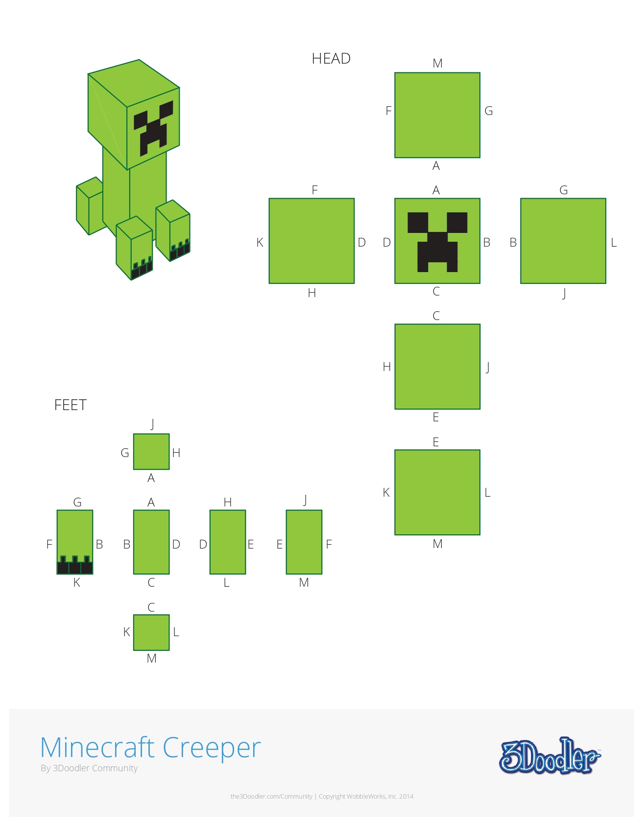 3D Pen Stencil Template Minecraft Creeper