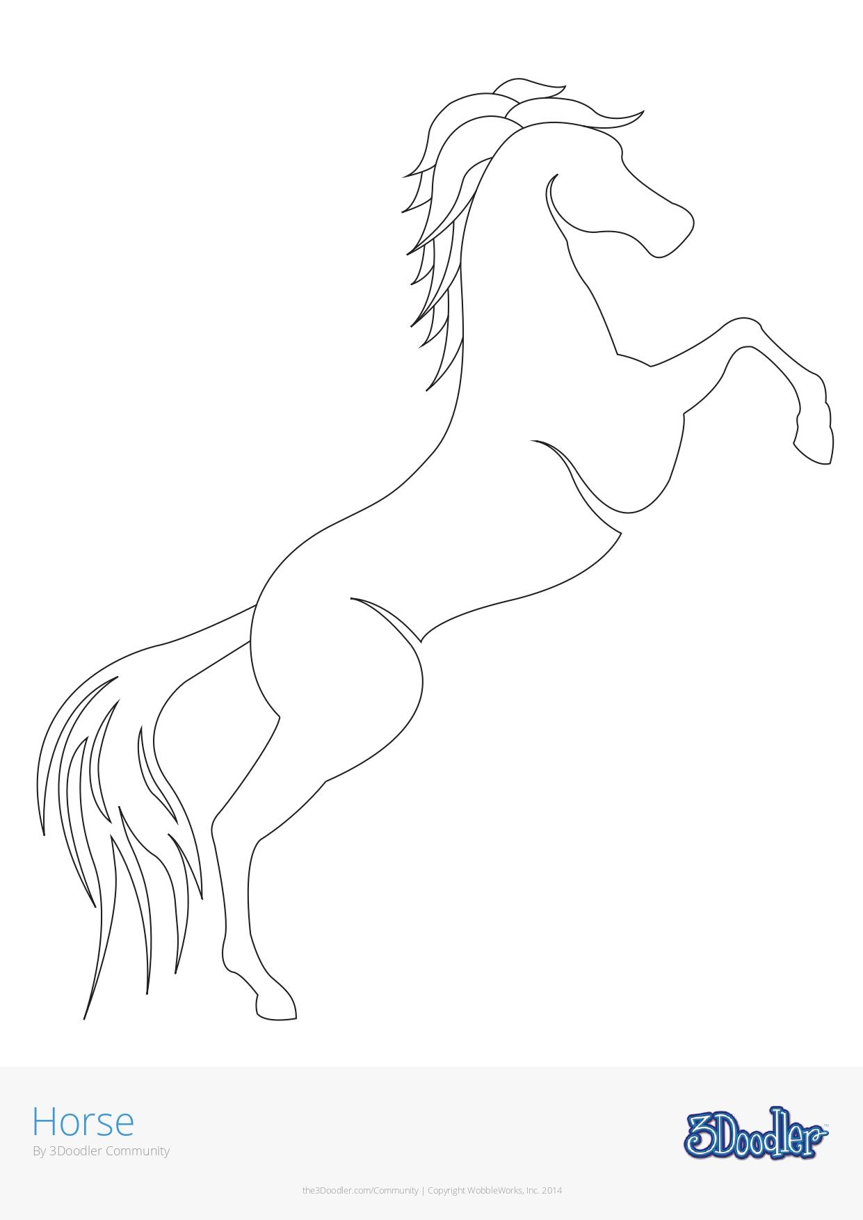 3D Pen Stencil Template Horse