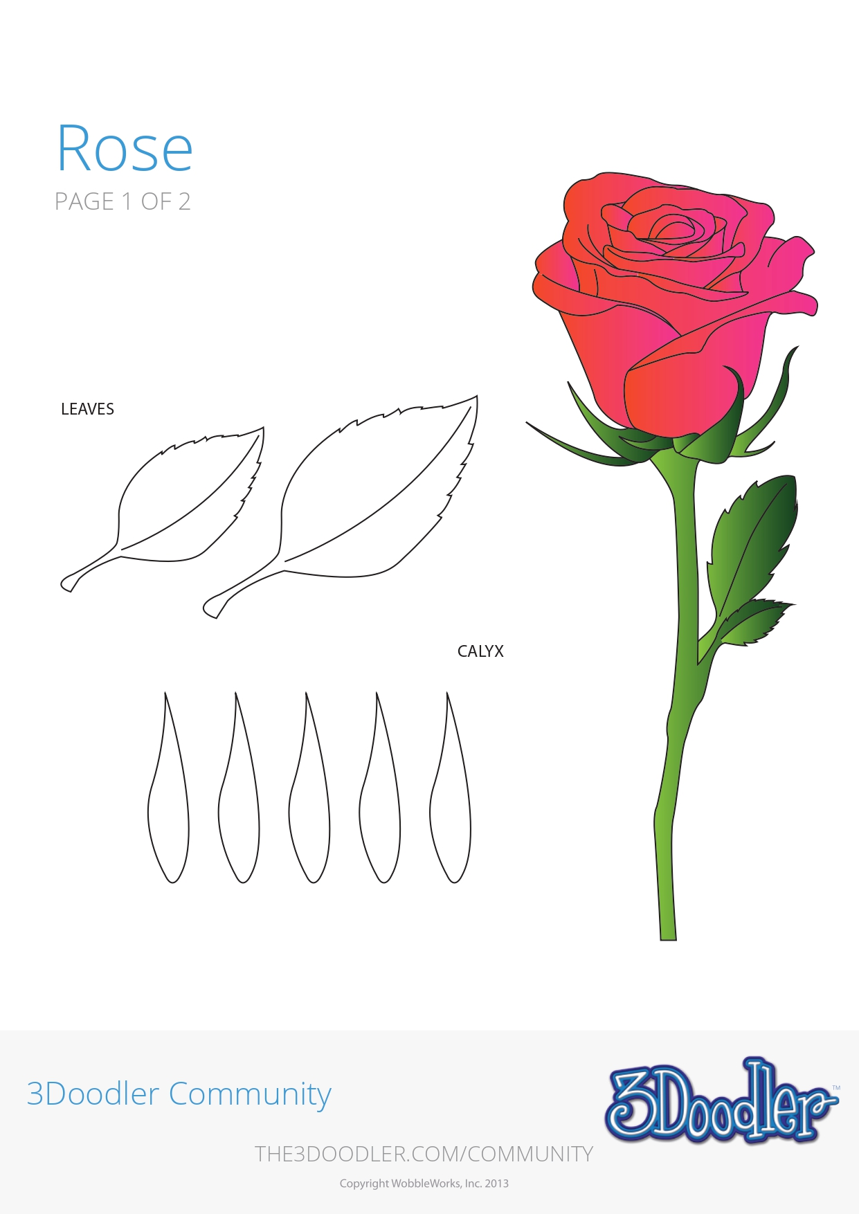 3D Pen Stencil Template Rose