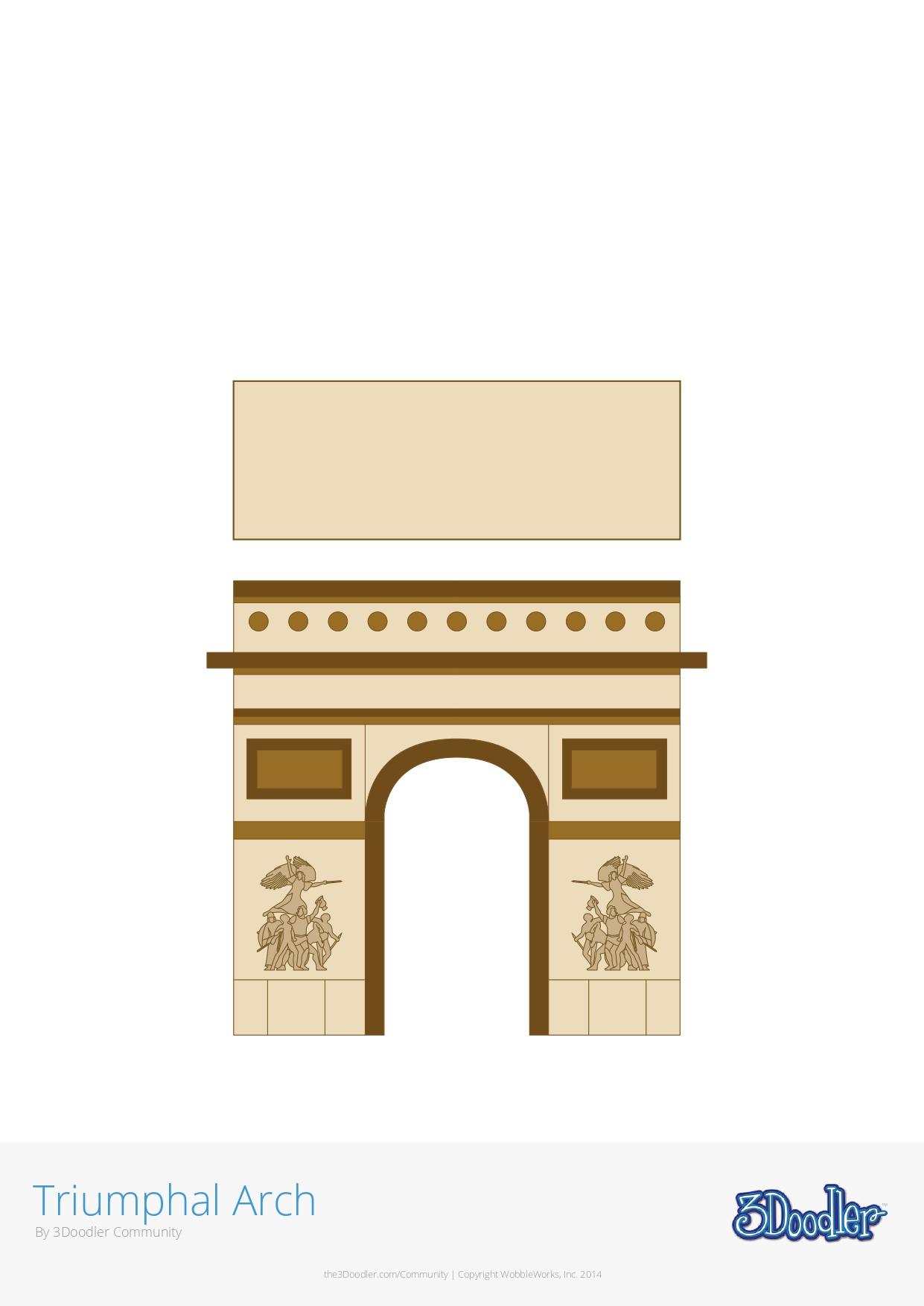 3D Pen Stencil Template Arc de Triomphe