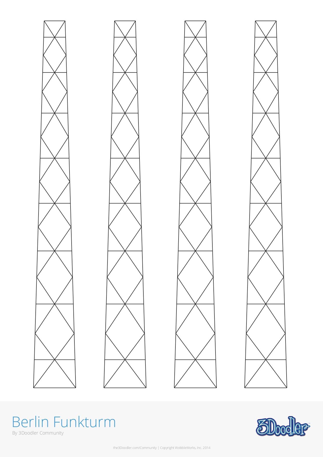 3D Pen Stencil Template Berlin Funkturm