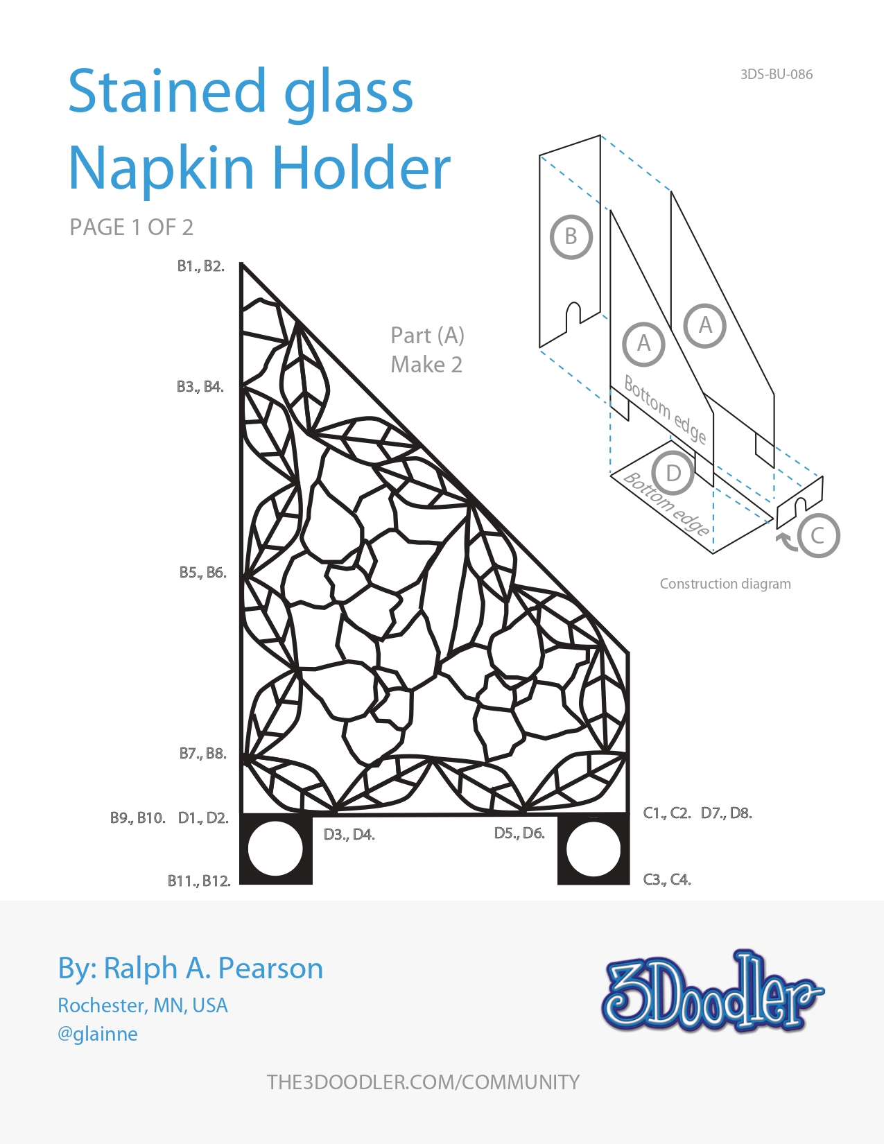 3D Pen Stencil Template Stained Napkin Holder