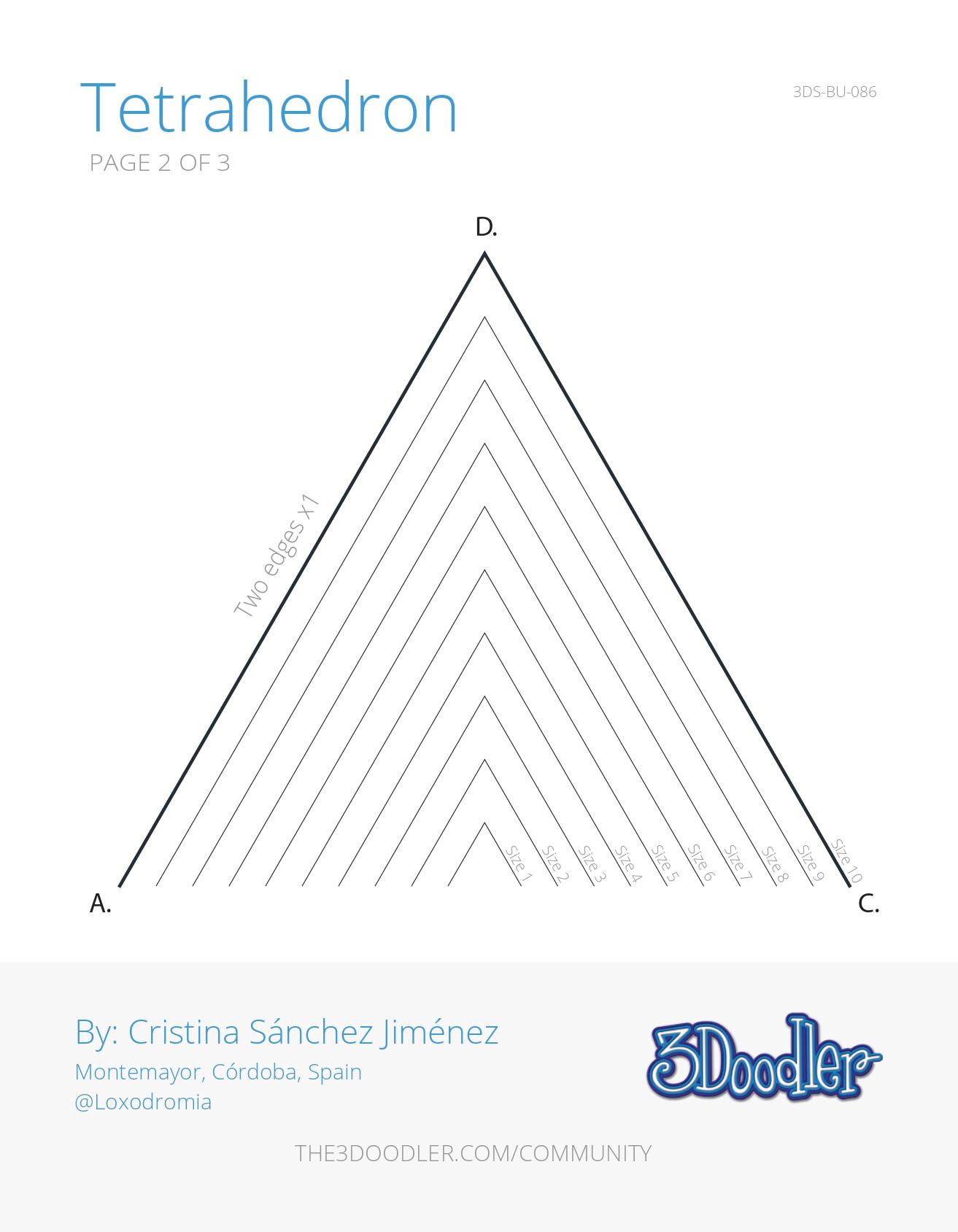 3D Pen Stencil Template Tetrahedron