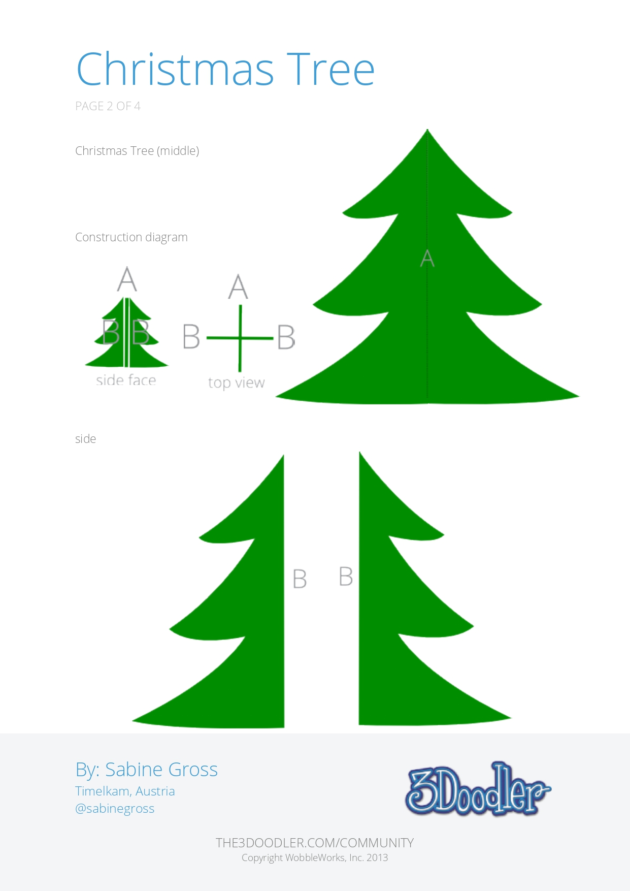 3D Pen Stencil Template Christmas Tree