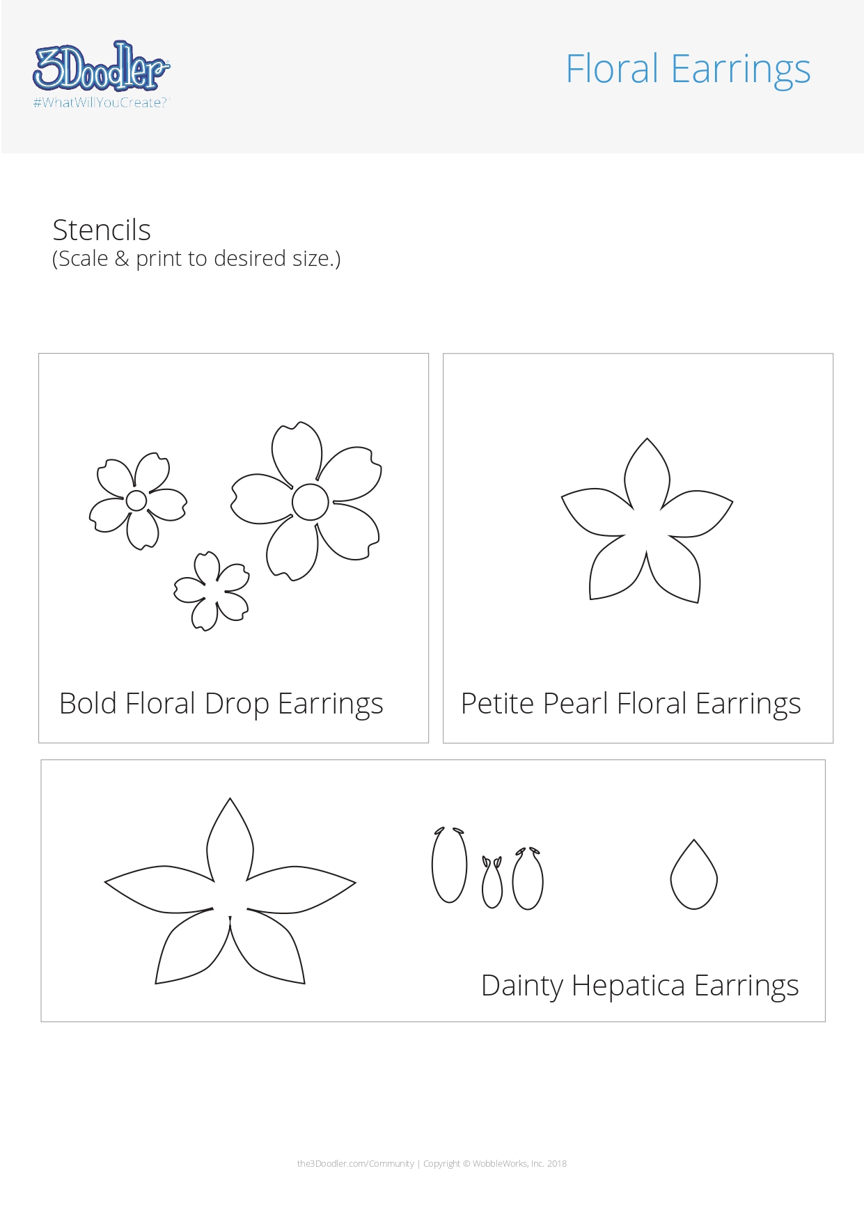 3D Pen Stencil Template Floral Earrings Stencil