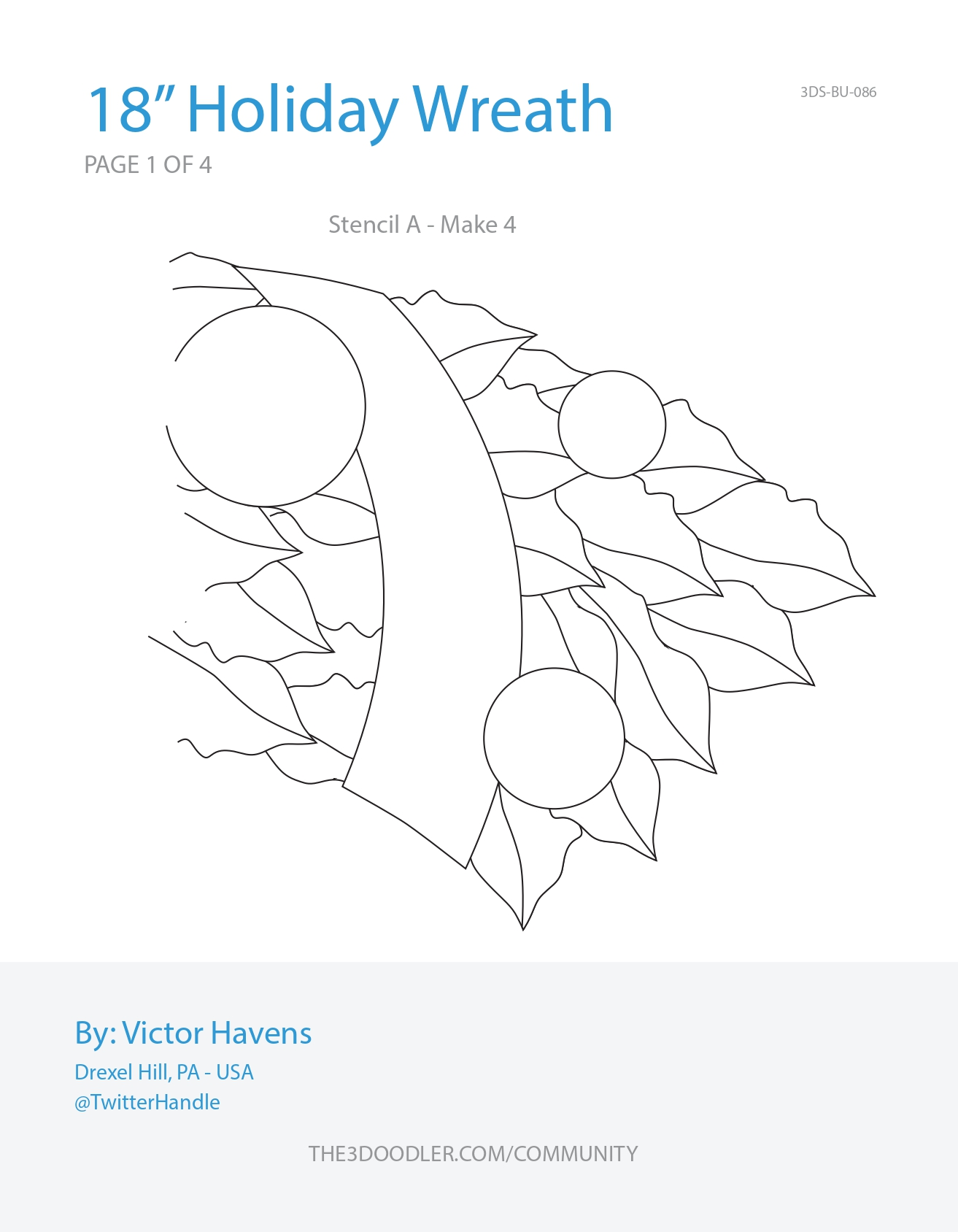 3D Pen Stencil Template Holiday Wreath