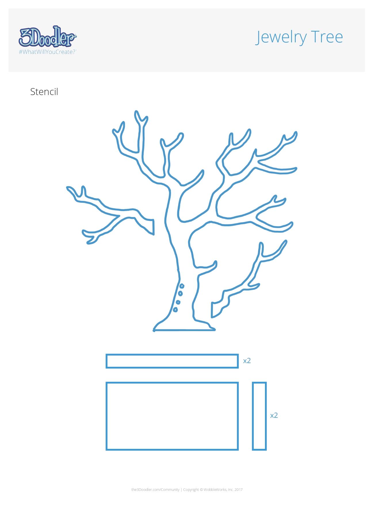 3D Pen Stencil Template Jewelry Tree