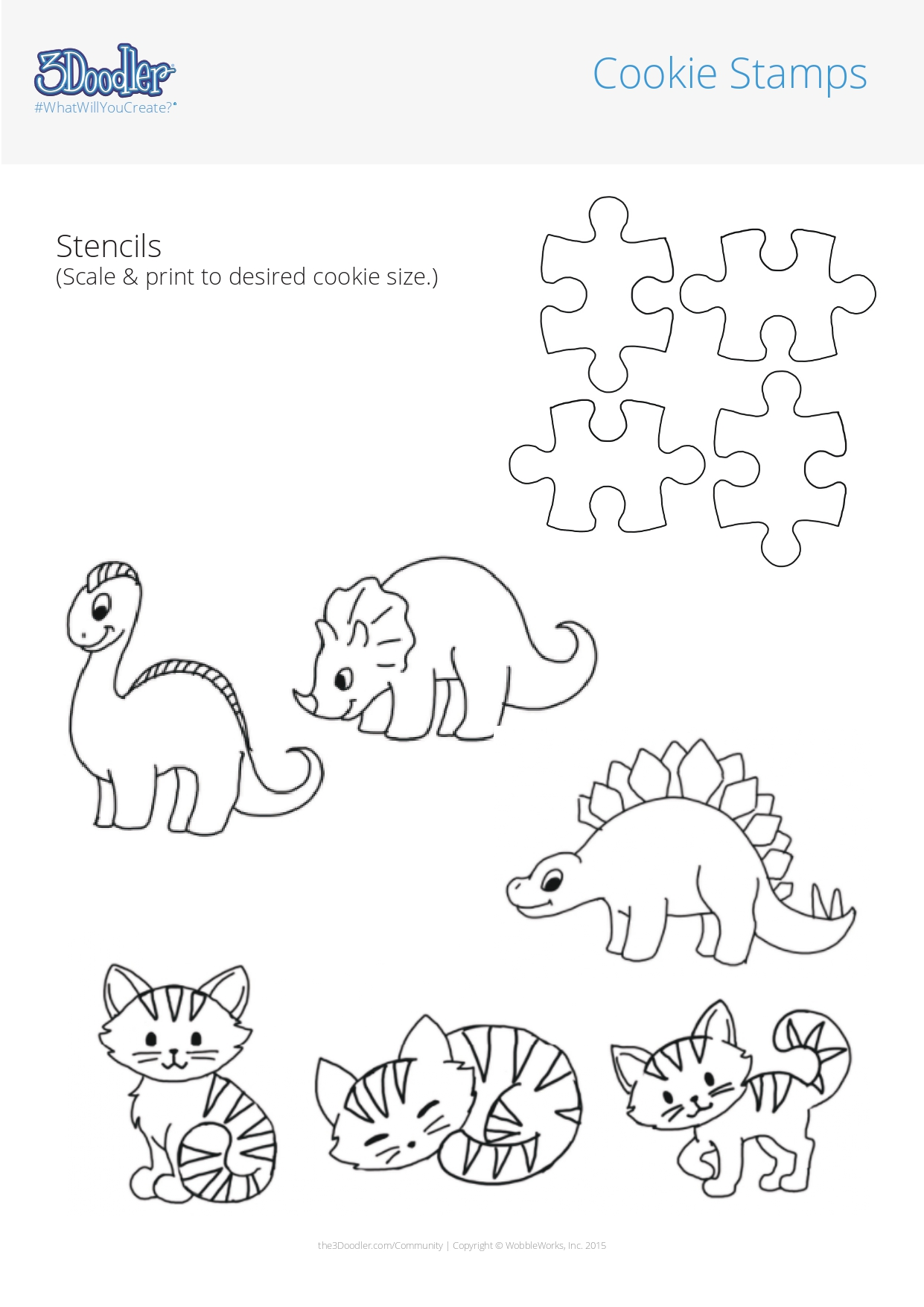 3D Pen Stencil Template Cookie Stamps