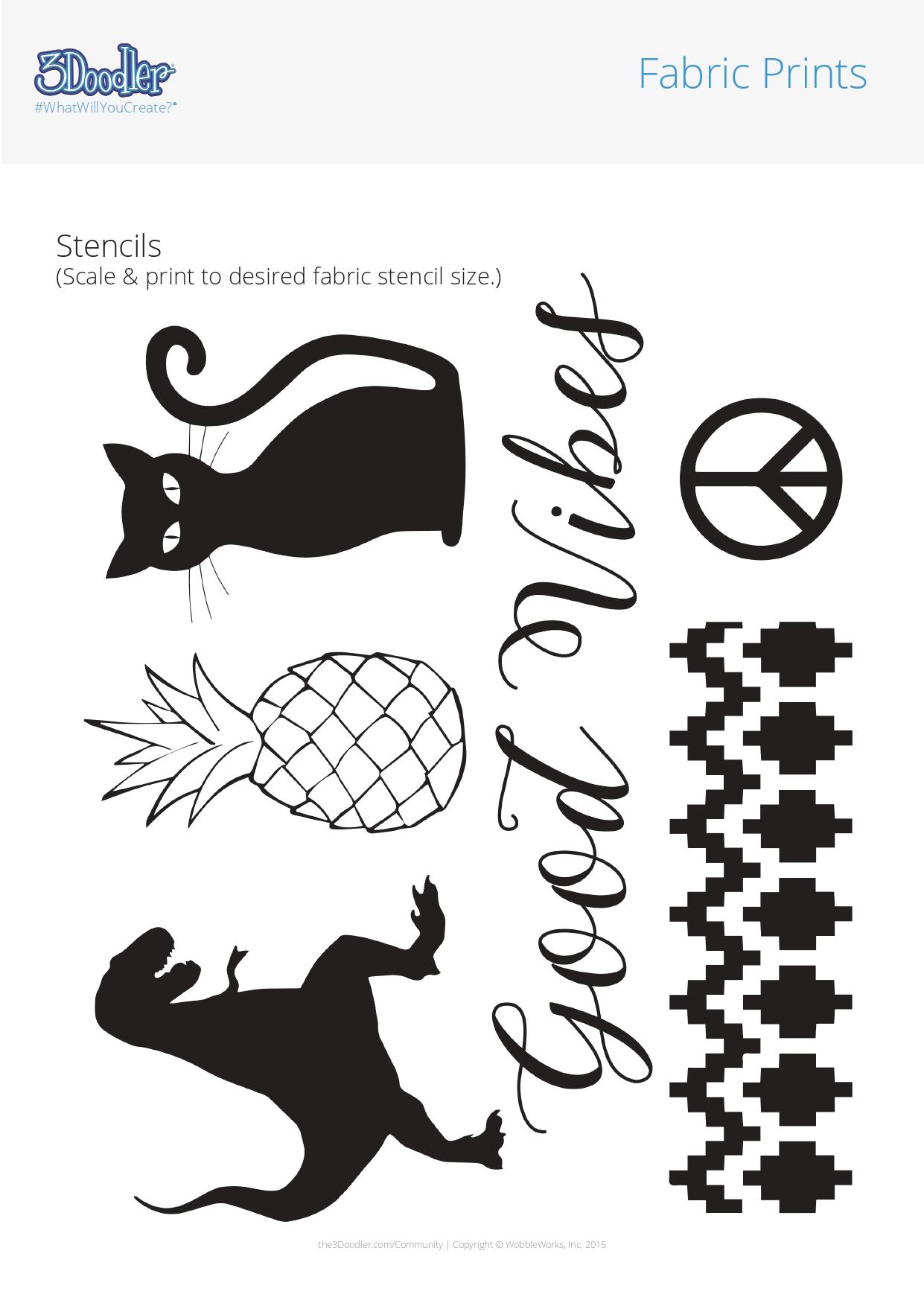 3D Pen Stencil Template Fabric Prints