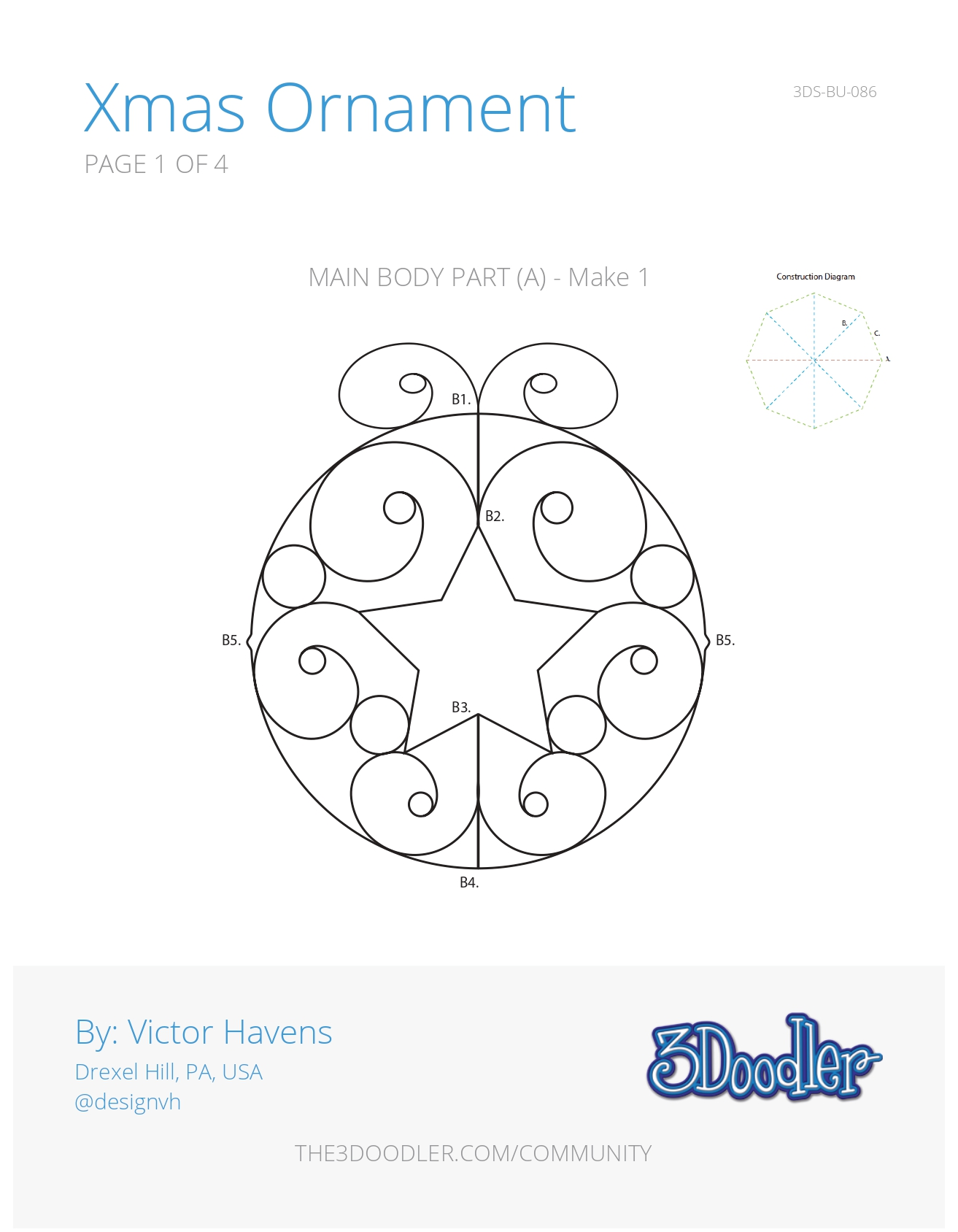 3D Pen Stencil Template Ornament