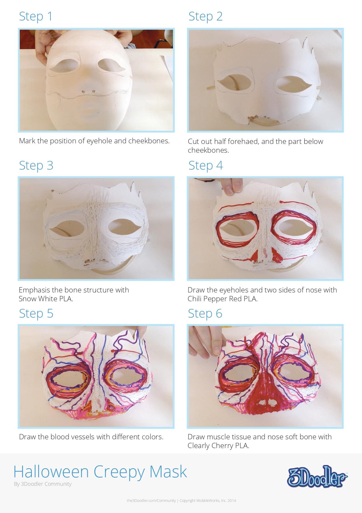 3D Pen Stencil Template Halloween Mask 3