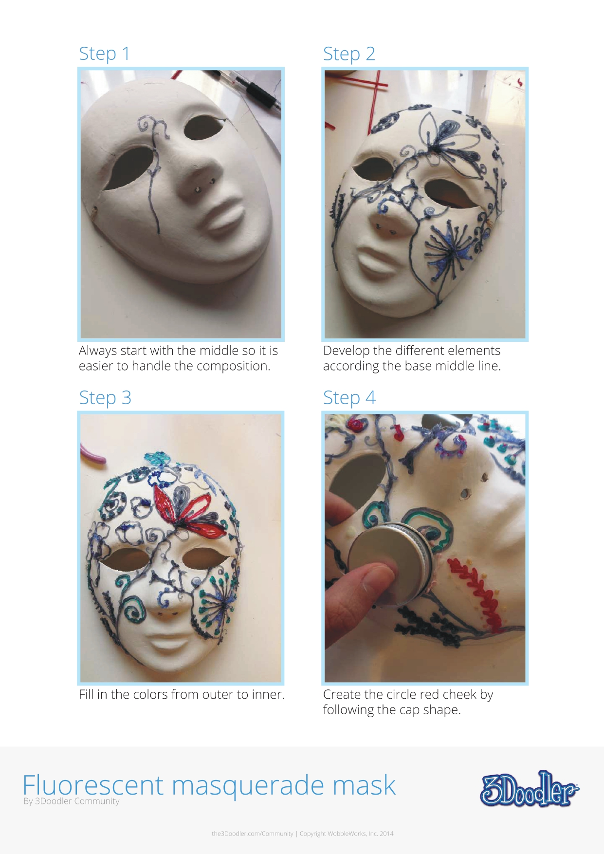 3D Pen Stencil Template Masquerade Mask 2