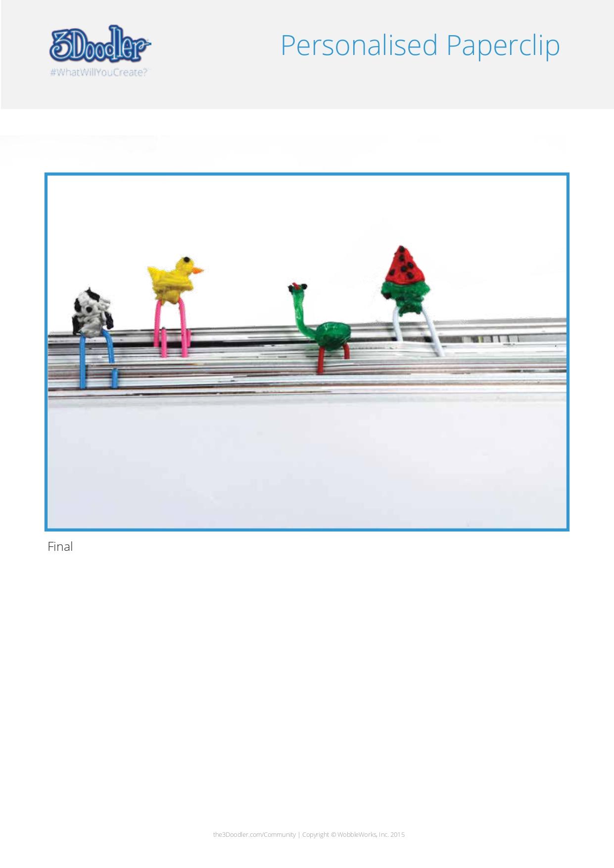 3D Pen Stencil Template Paper clip