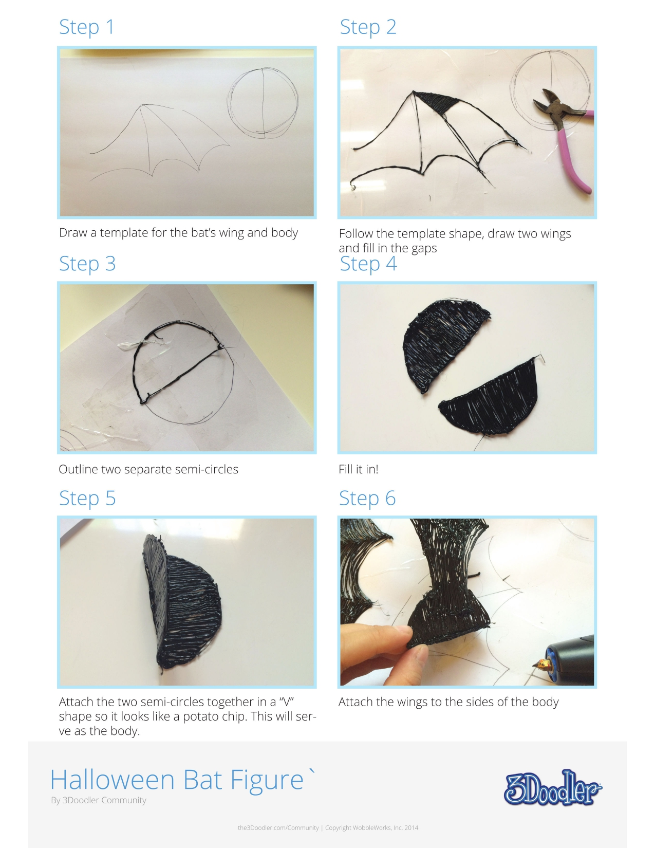 3D Pen Stencil Template Bat
