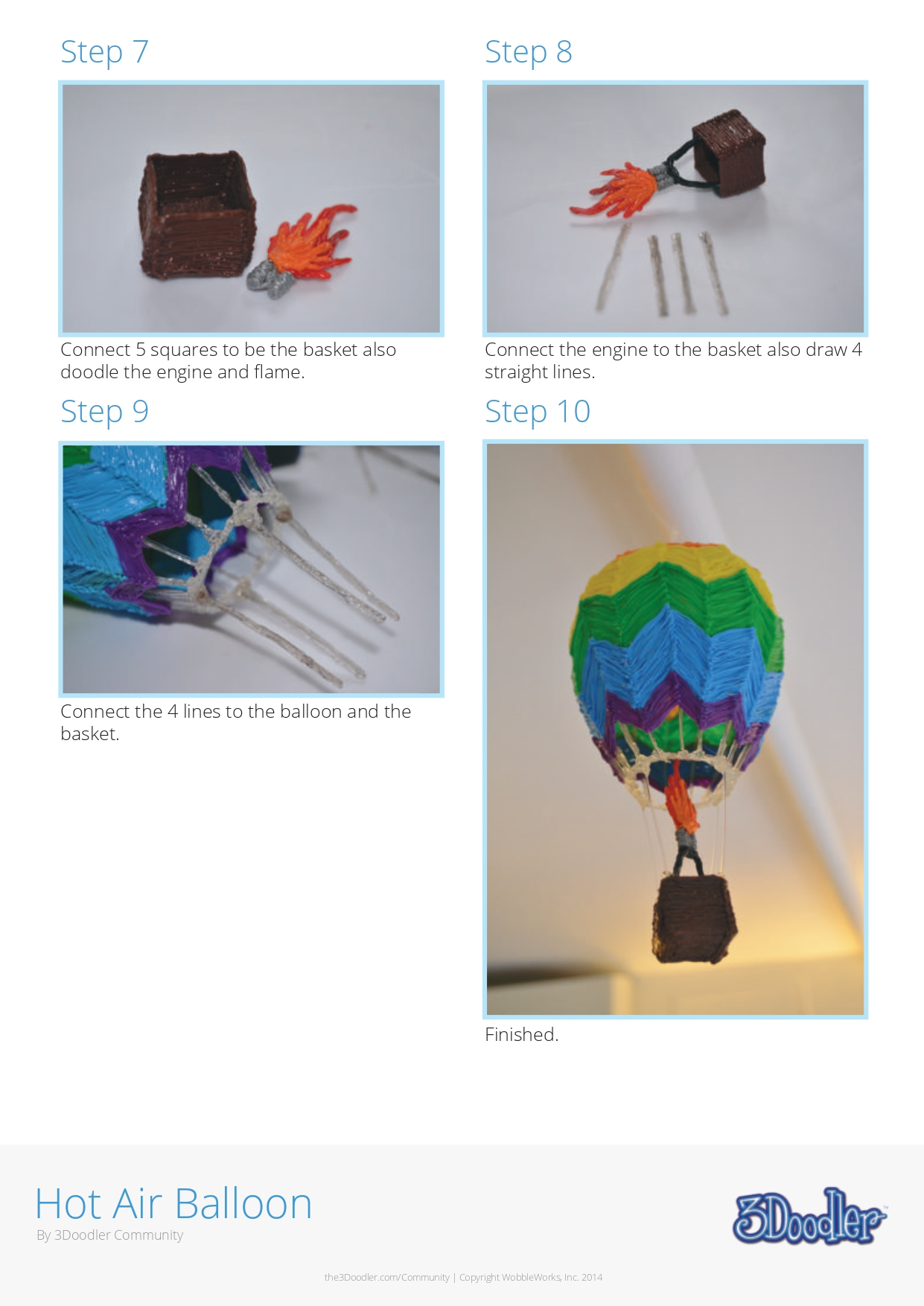 3D Pen Stencil Template Hot Air Balloon
