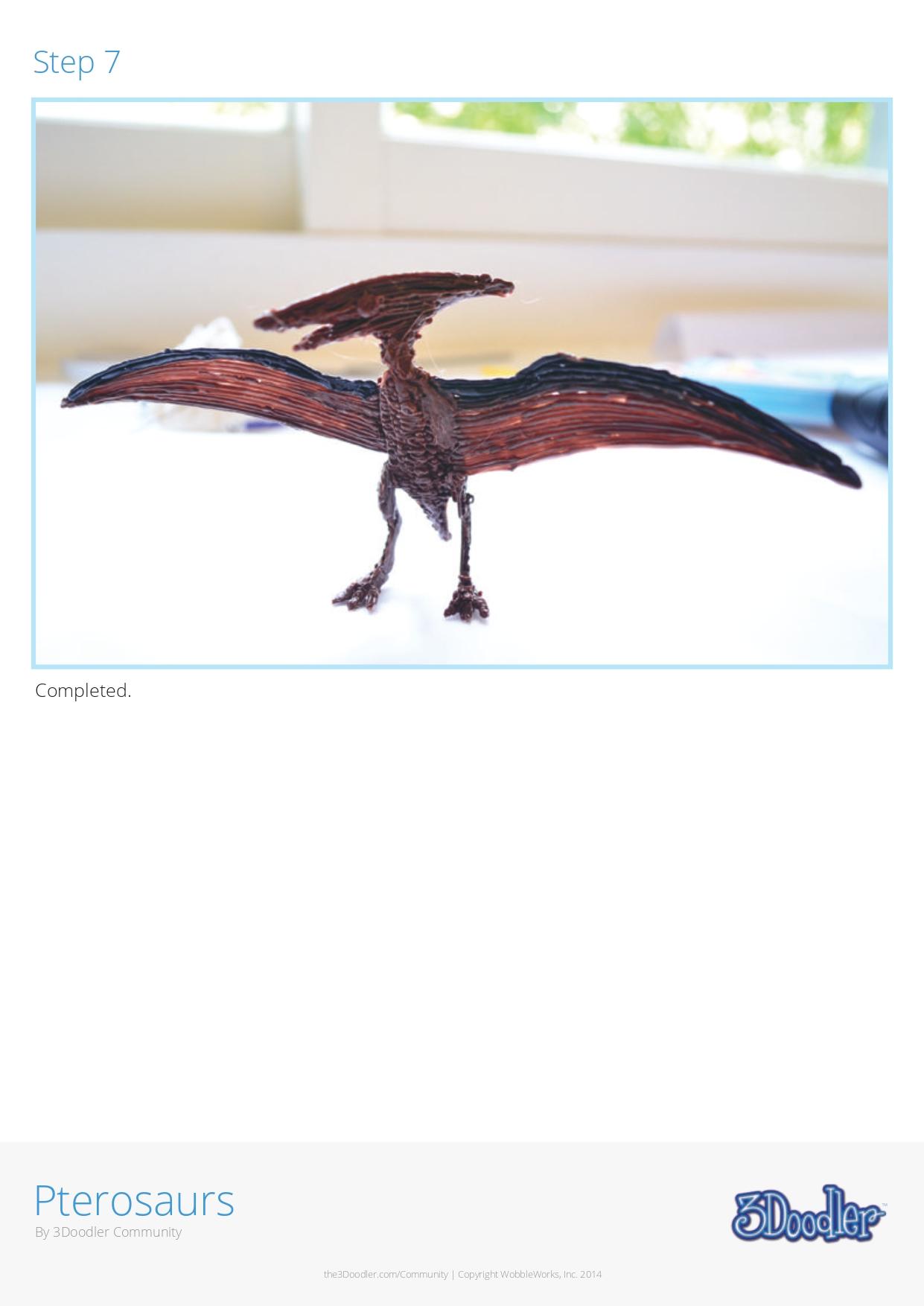 3D Pen Stencil Template Pterosaur