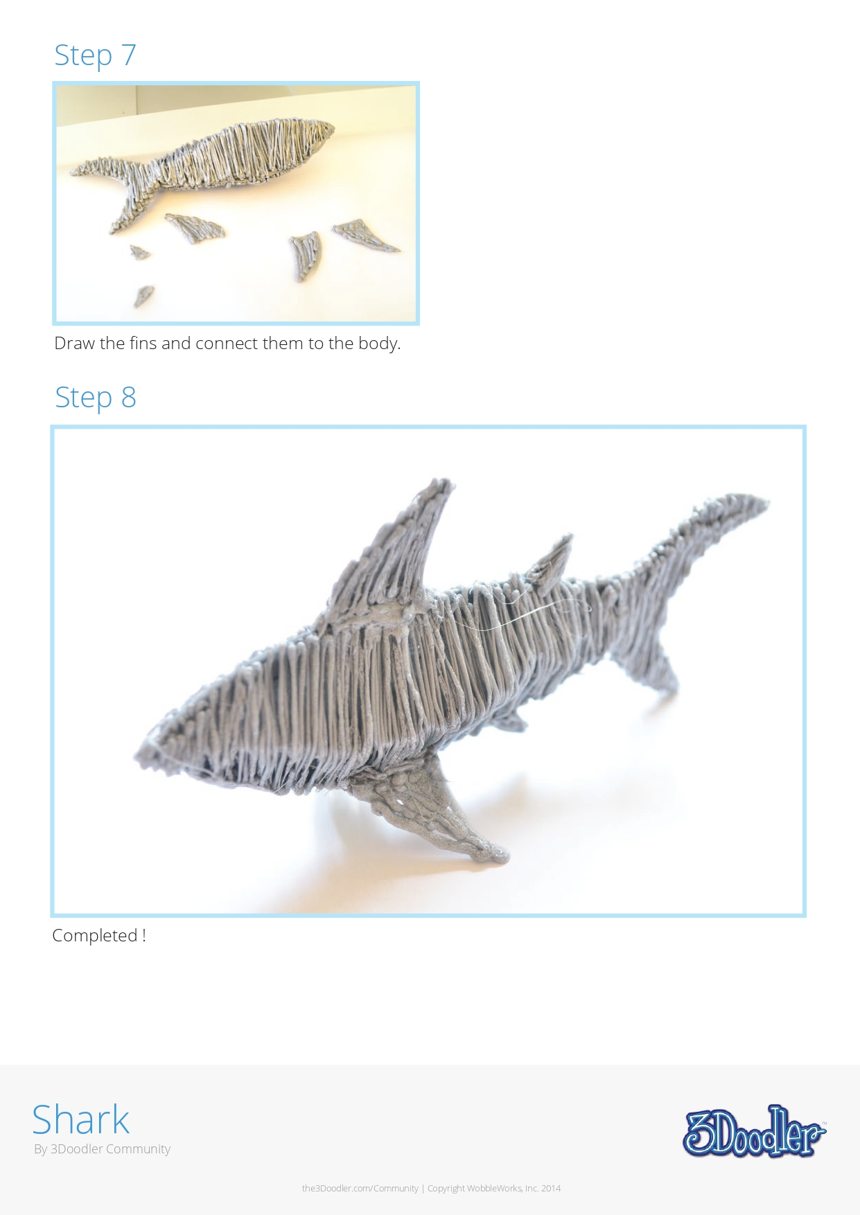 3D Pen Stencil Template Shark