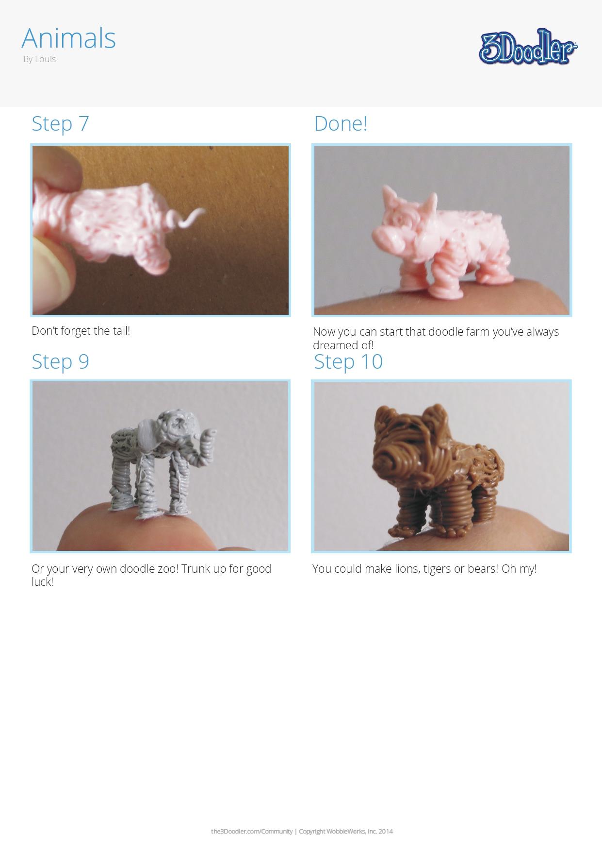3D Pen Stencil Template Tiny Animals