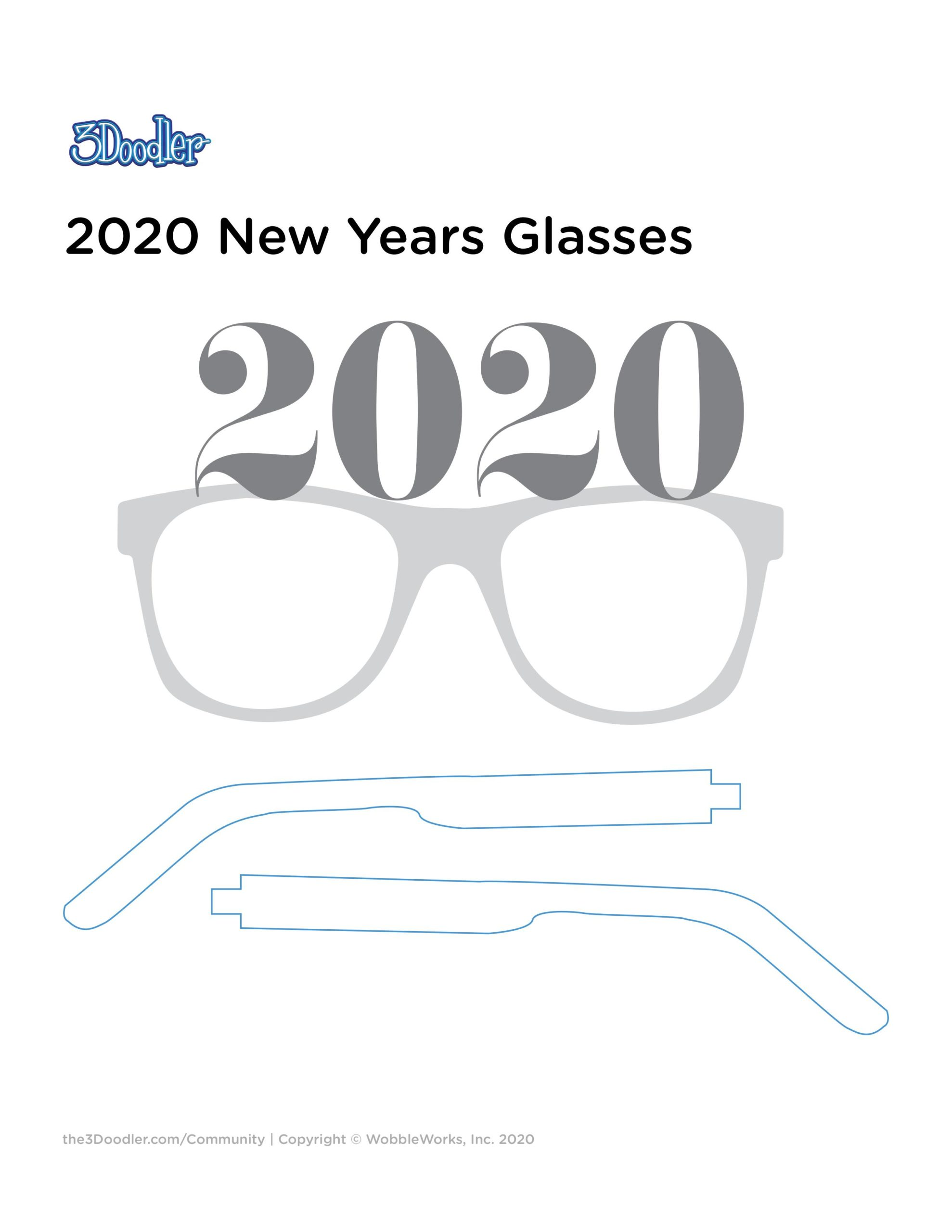 3D Pen Stencil Template 2020 Glasses Stencil