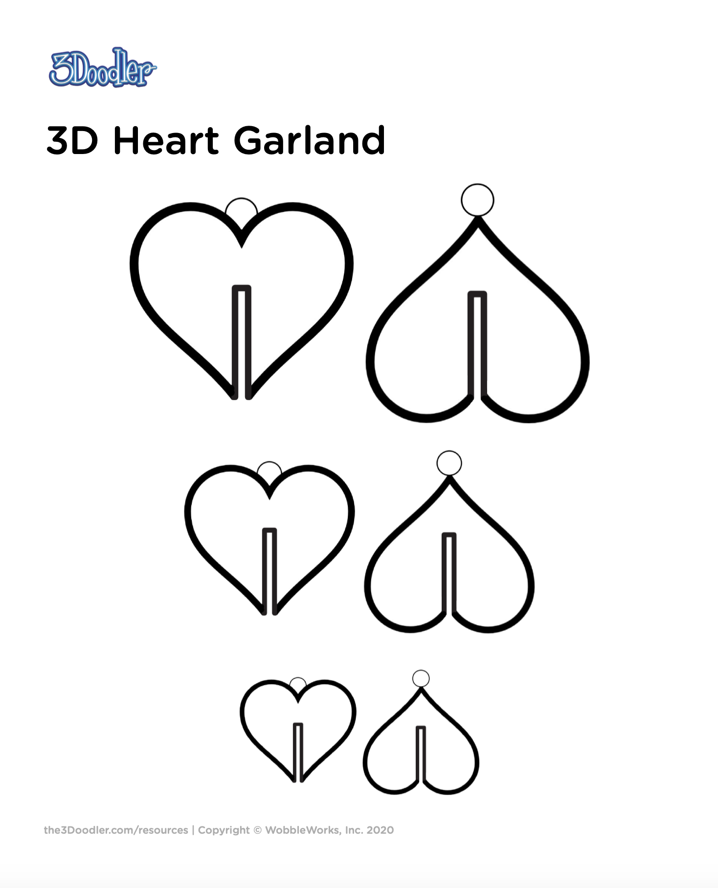 3D Pen Stencil Template 3D Heart Garland
