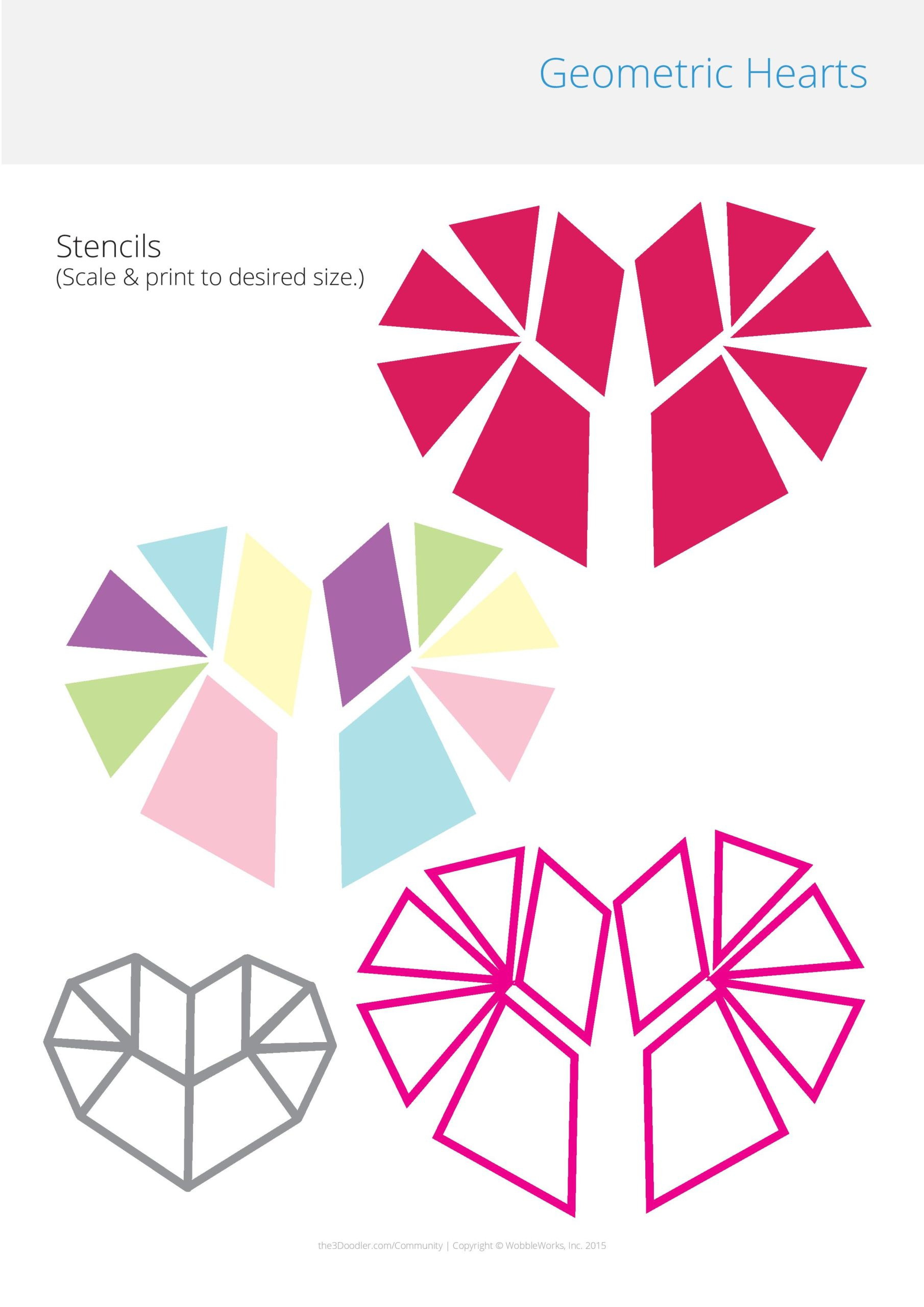 3D Pen Stencil Template Geometric Hearts