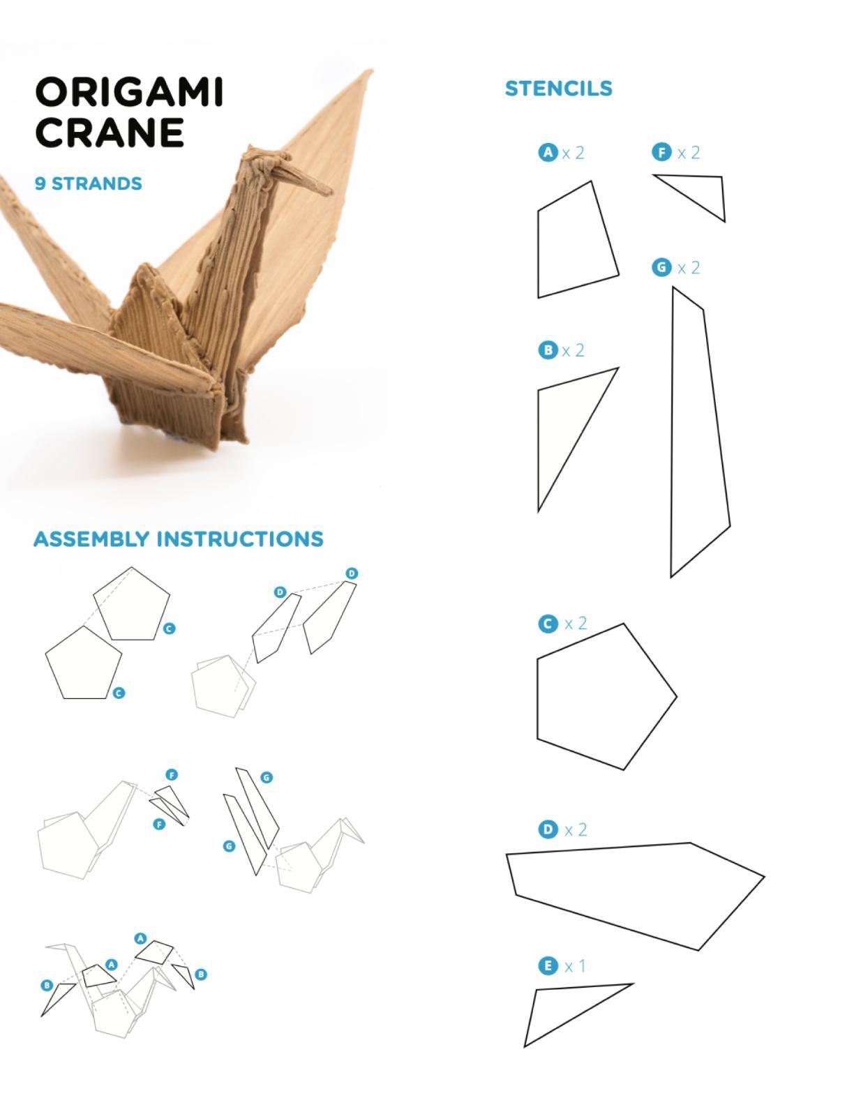 """3D Pen Stencil Template Doodled """"Paper Crane"""""""
