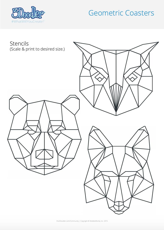 3D Pen Stencil Template Geometric Coasters