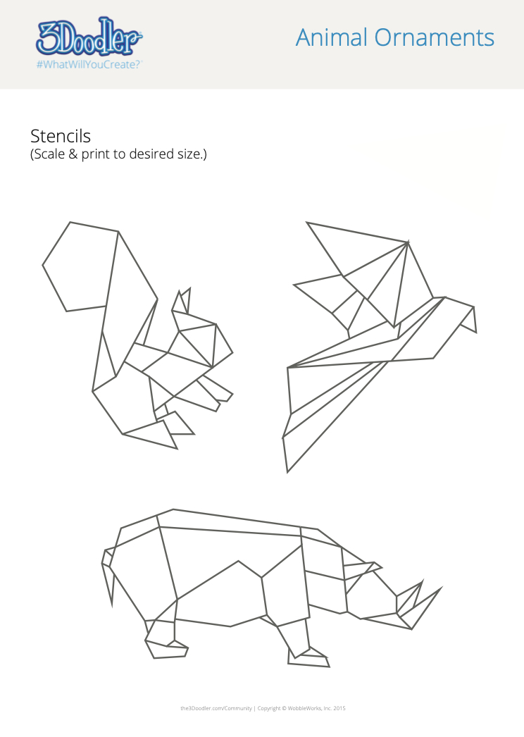 3D Pen Stencil Template Geometric Animals