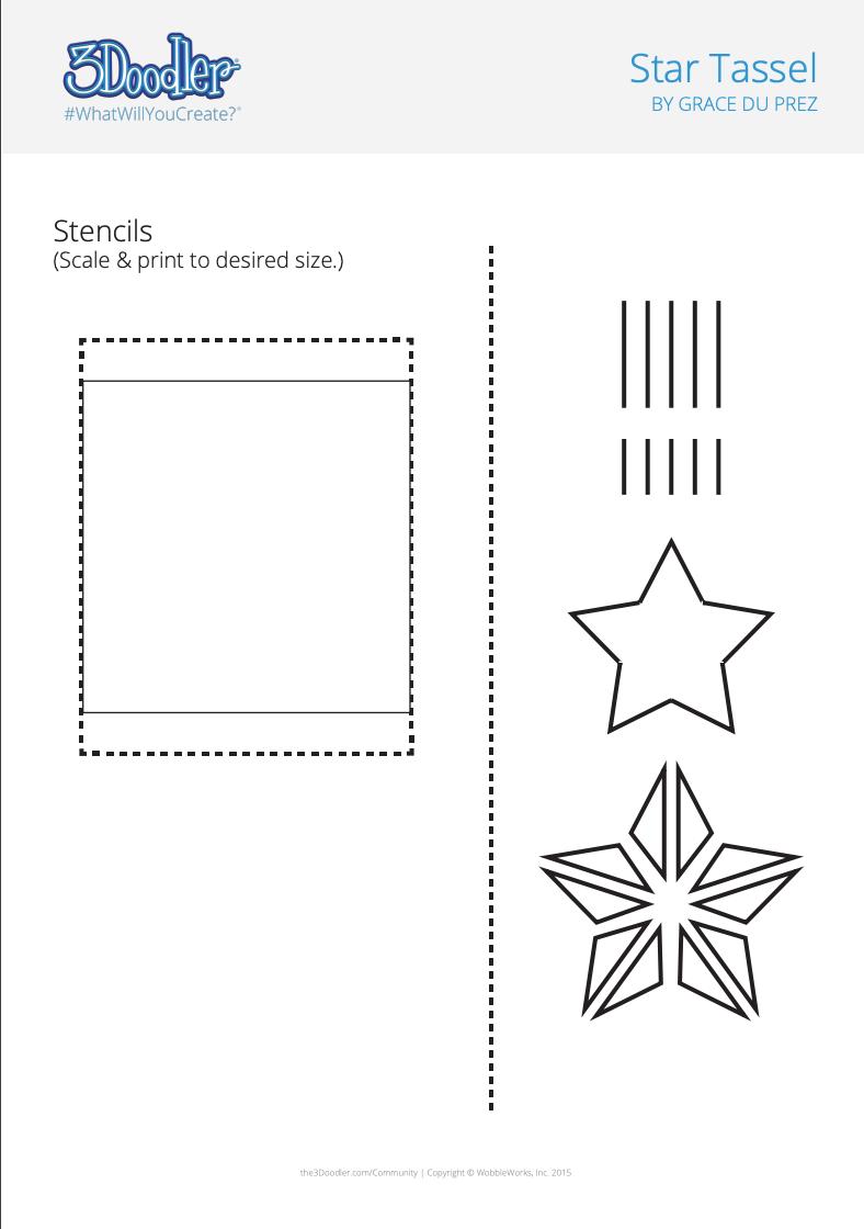 3D Pen Stencil Template Shooting Star Tassels