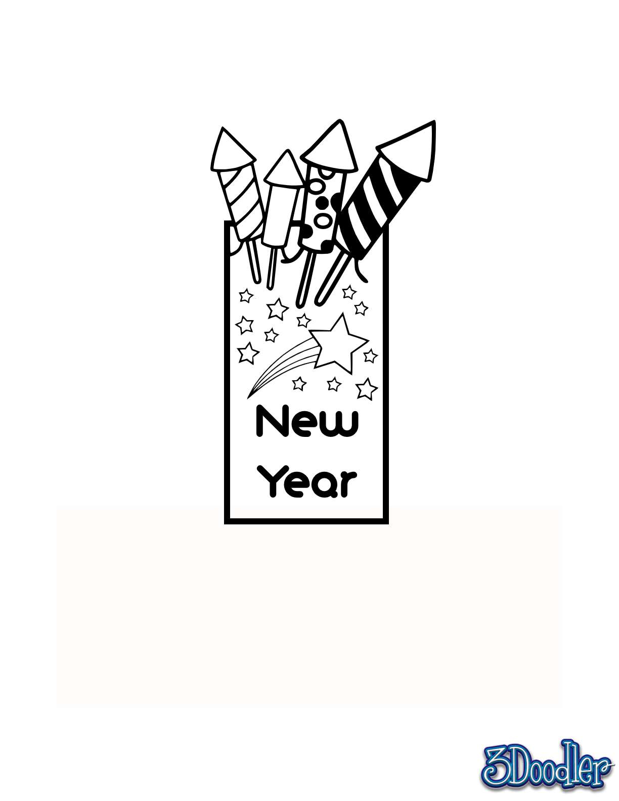 3D Pen Stencil Template New Years Bookmark