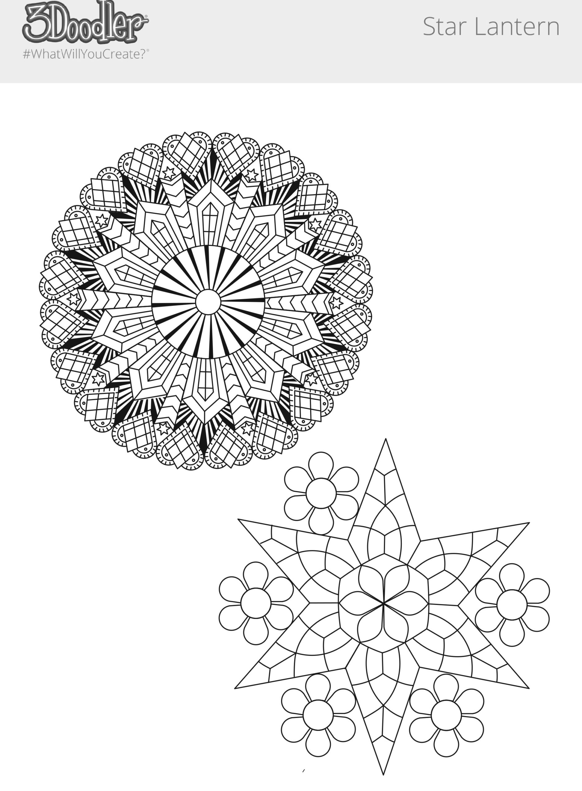 3D Pen Stencil Template Star Pendant & Star-Shaped Lantern