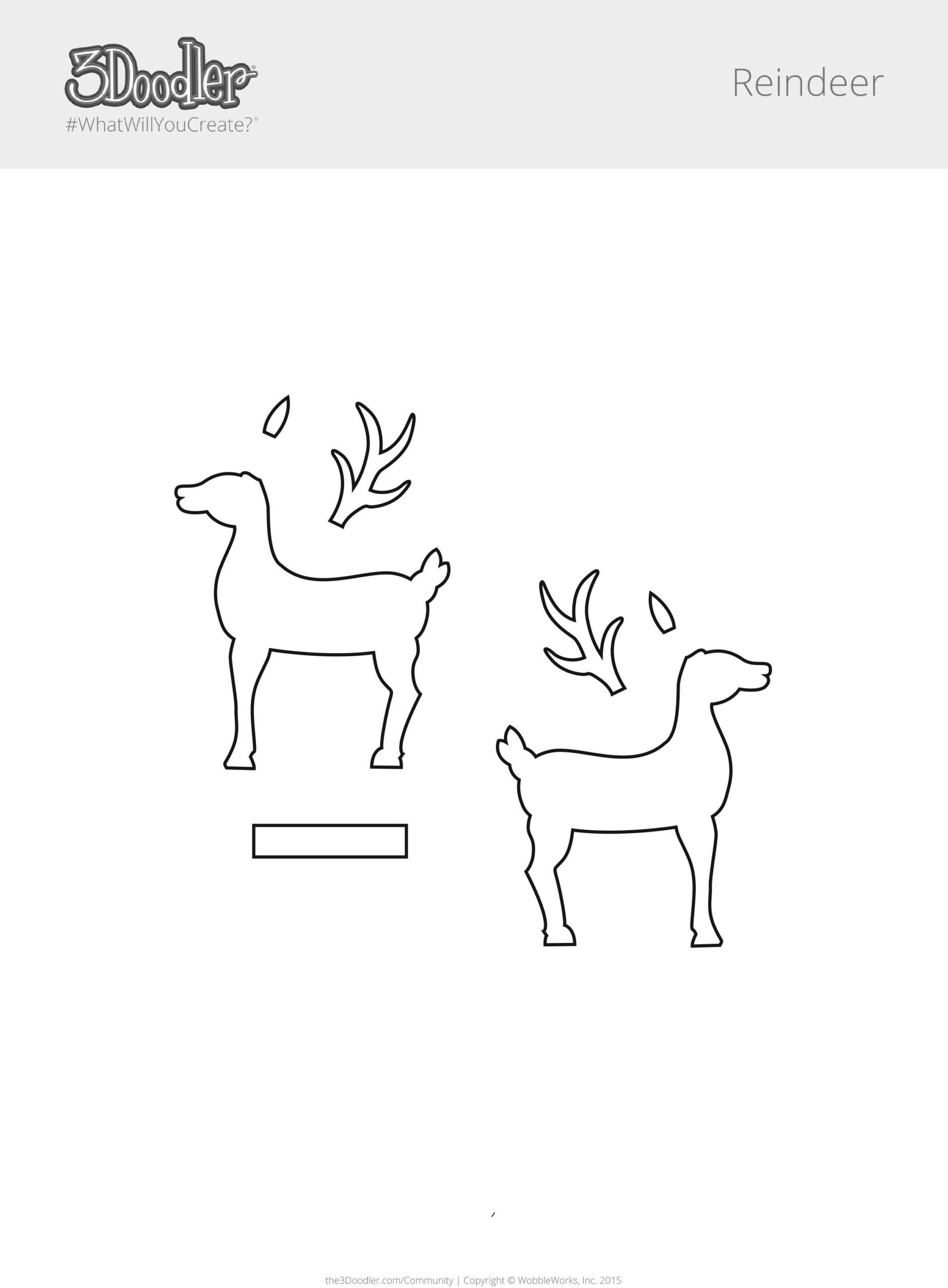 3D Pen Stencil Template Rudolph Reindeer
