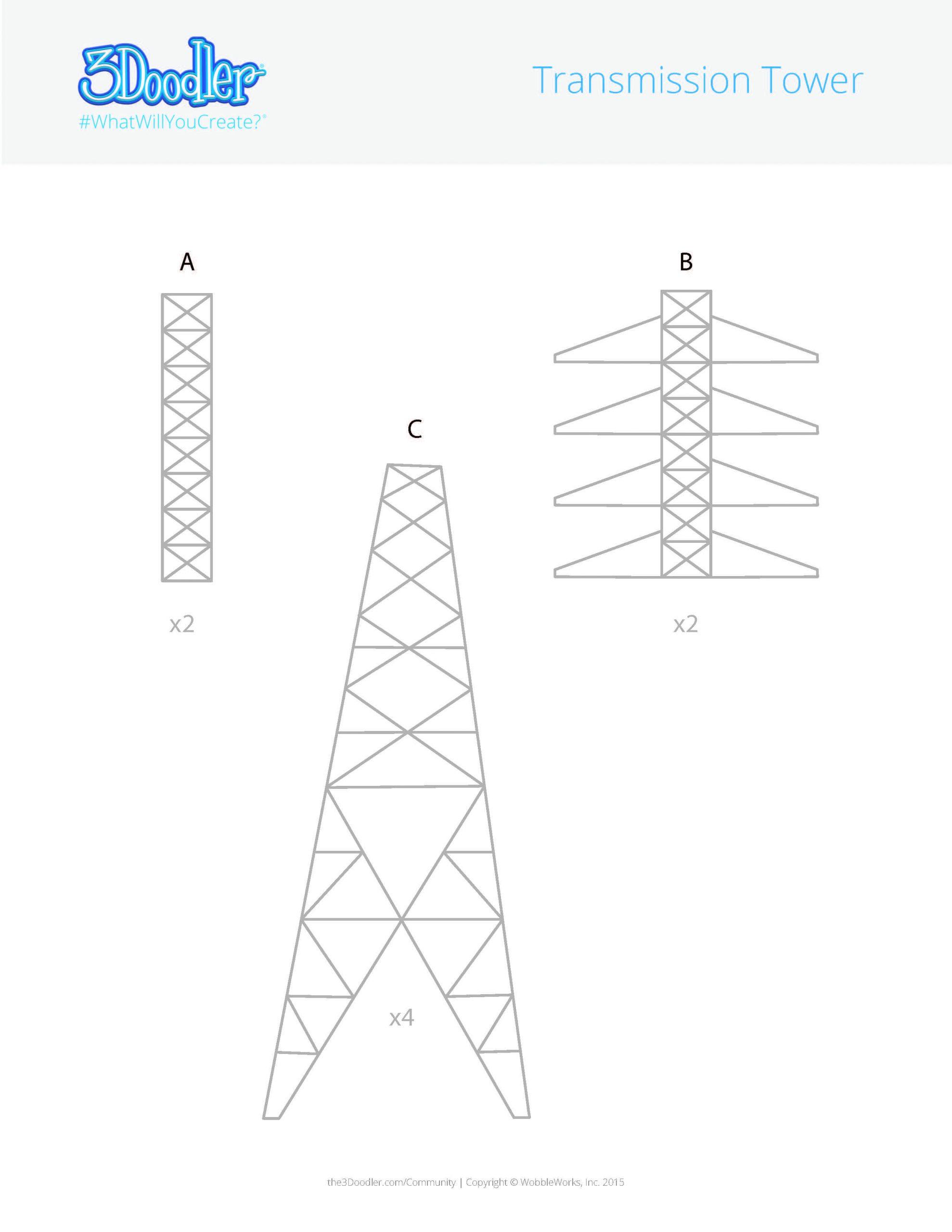 3D Pen Stencil Template Transmission Tower