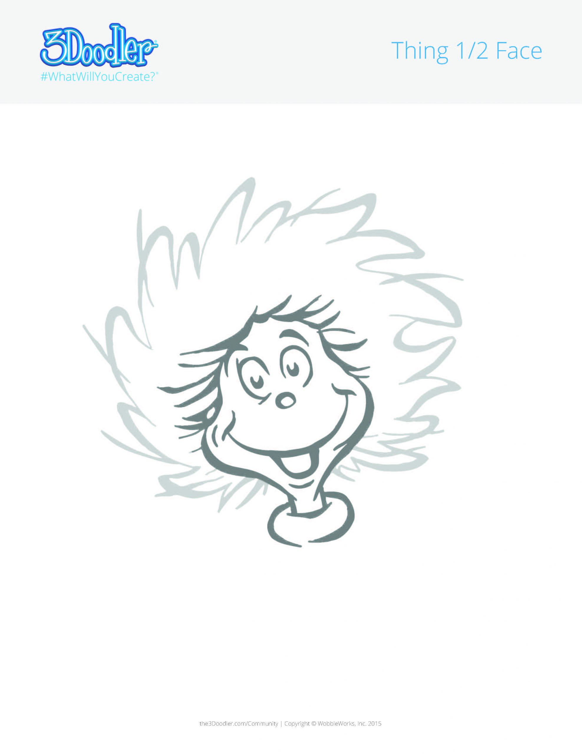 3D Pen Stencil Template Dr. Seuss Thing 1 & Thing 2 Hairstyles