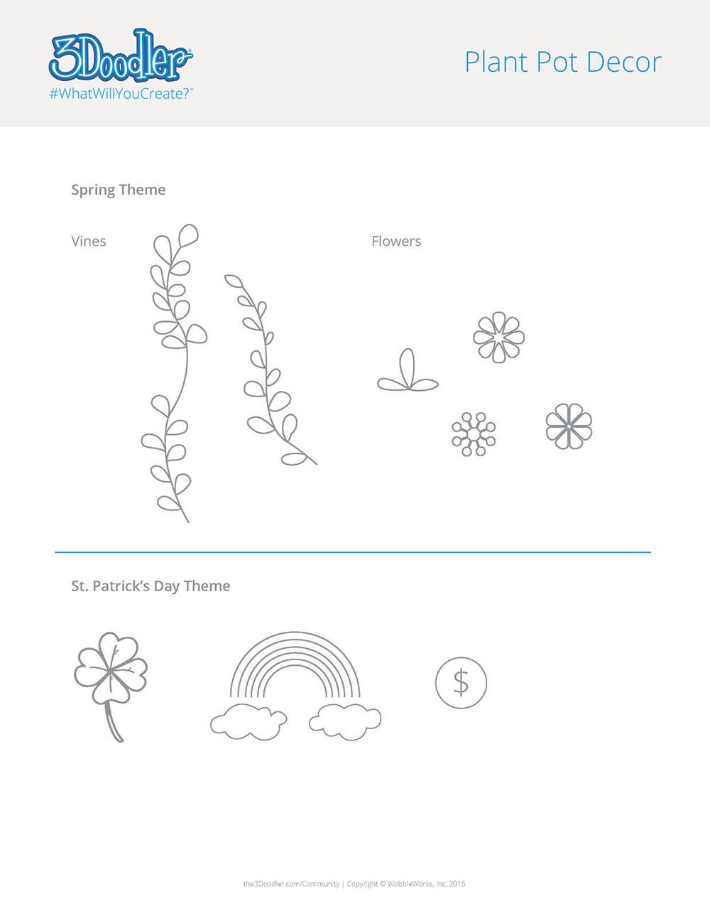 3D Pen Stencil Template Planter Decor