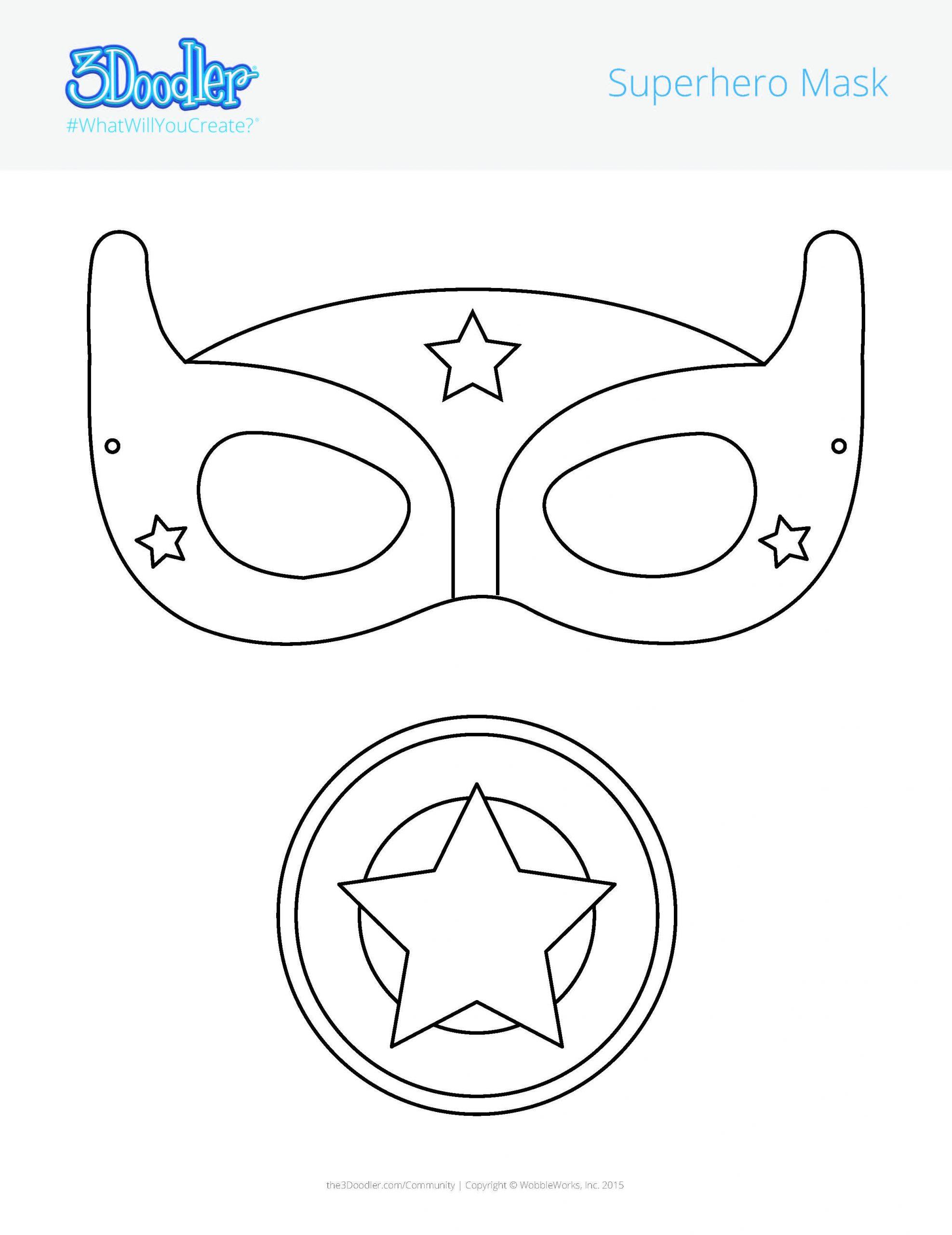 3D Pen Stencil Template Superhero Mask