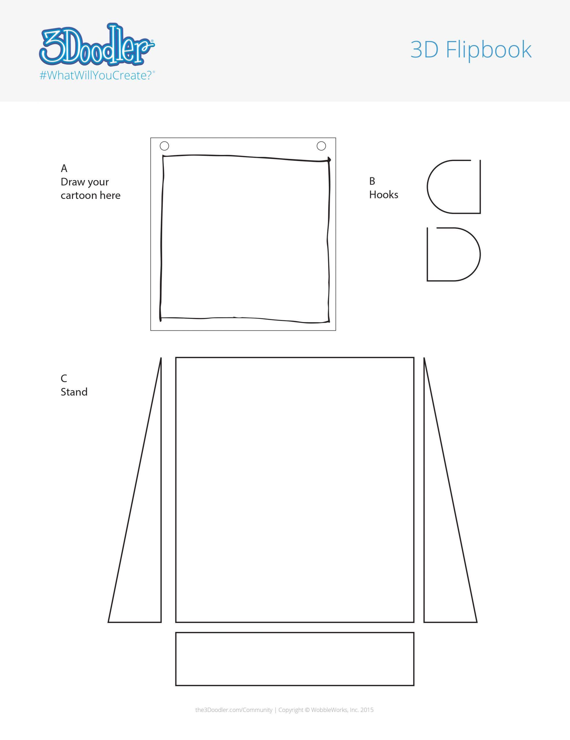3D Pen Stencil Template Flipbook + Stand