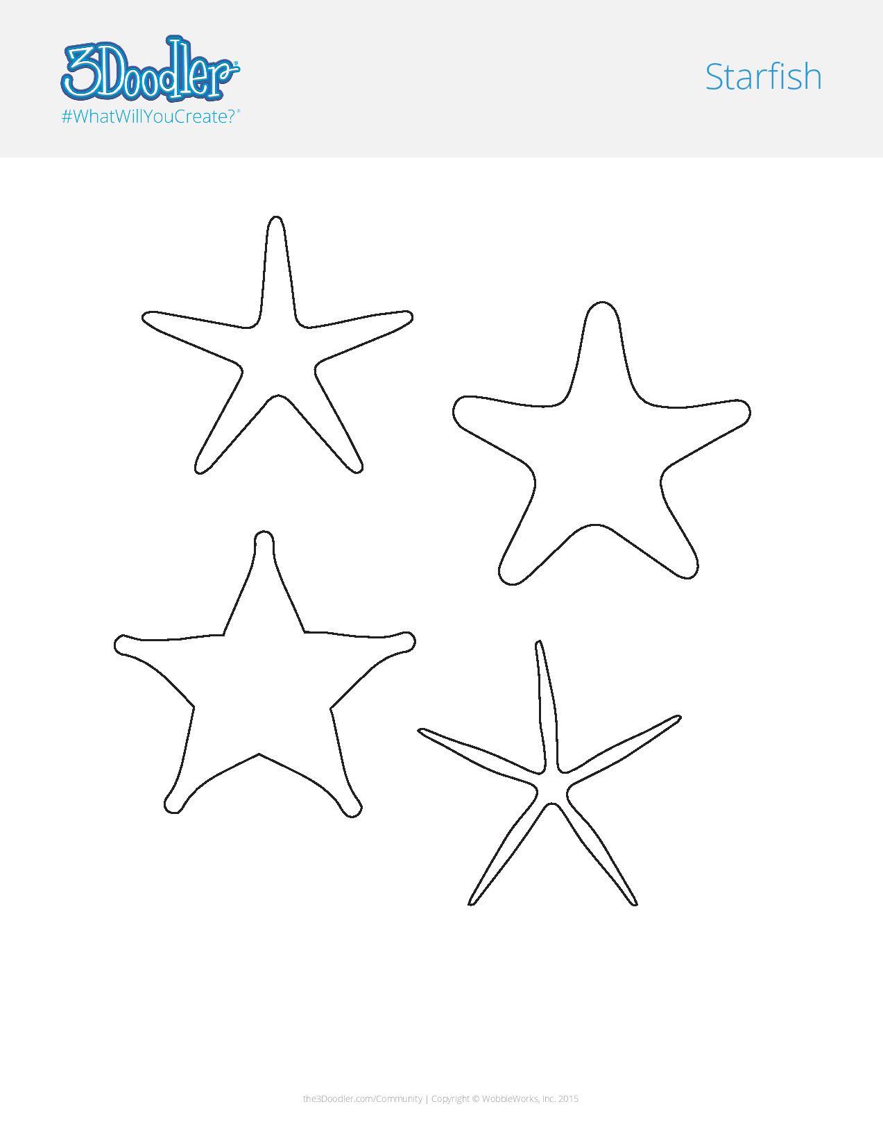3D Pen Stencil Template 3D Starfish