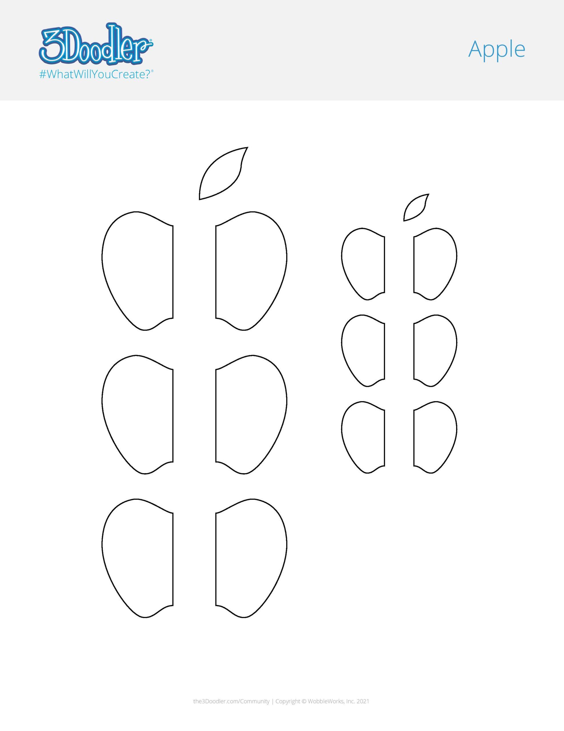 3D Pen Stencil Template Apple Stencil