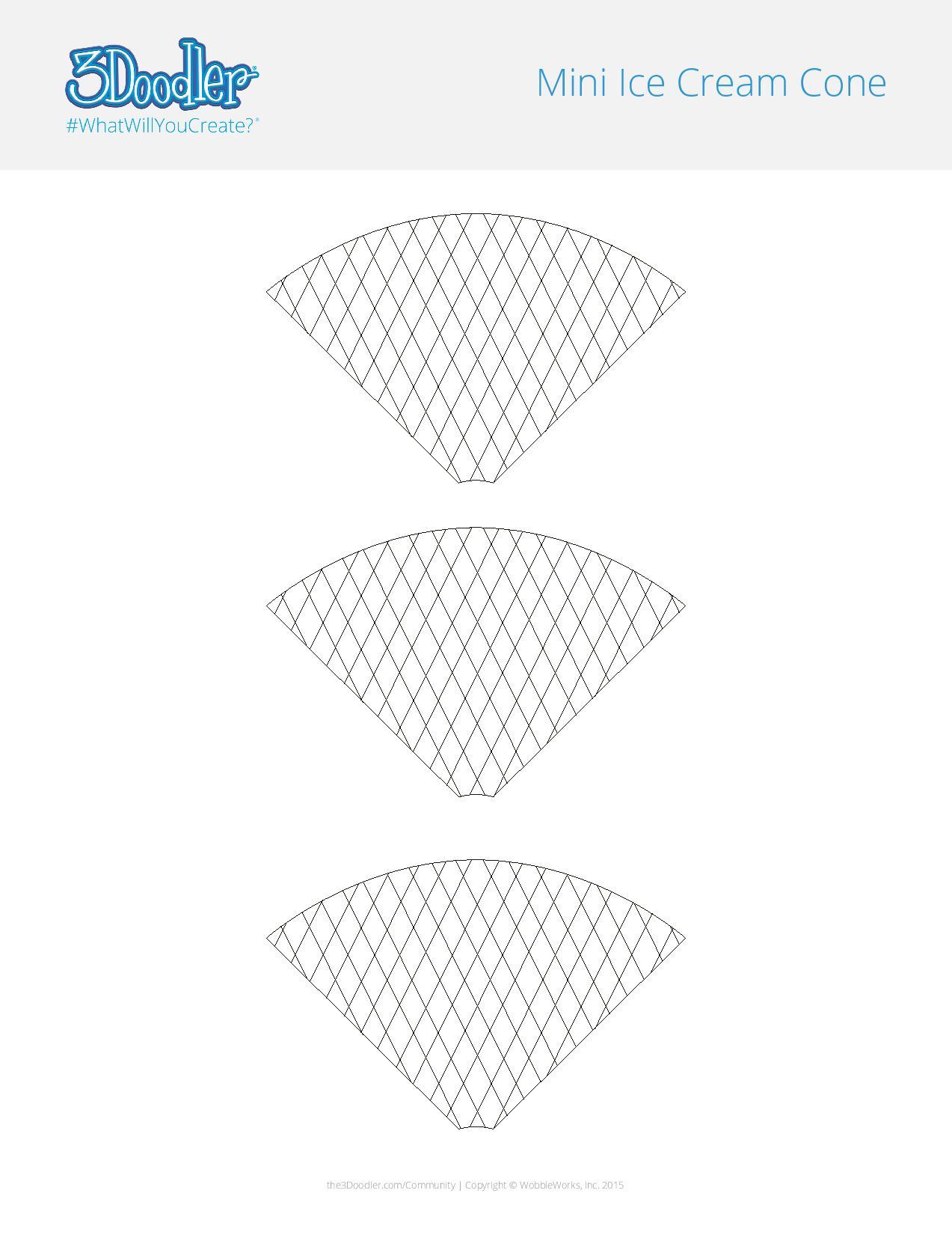 3D Pen Stencil Template DIY Ice Cream Cones