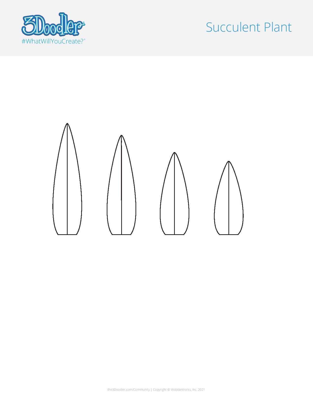 3D Pen Stencil Template Potted Succulents