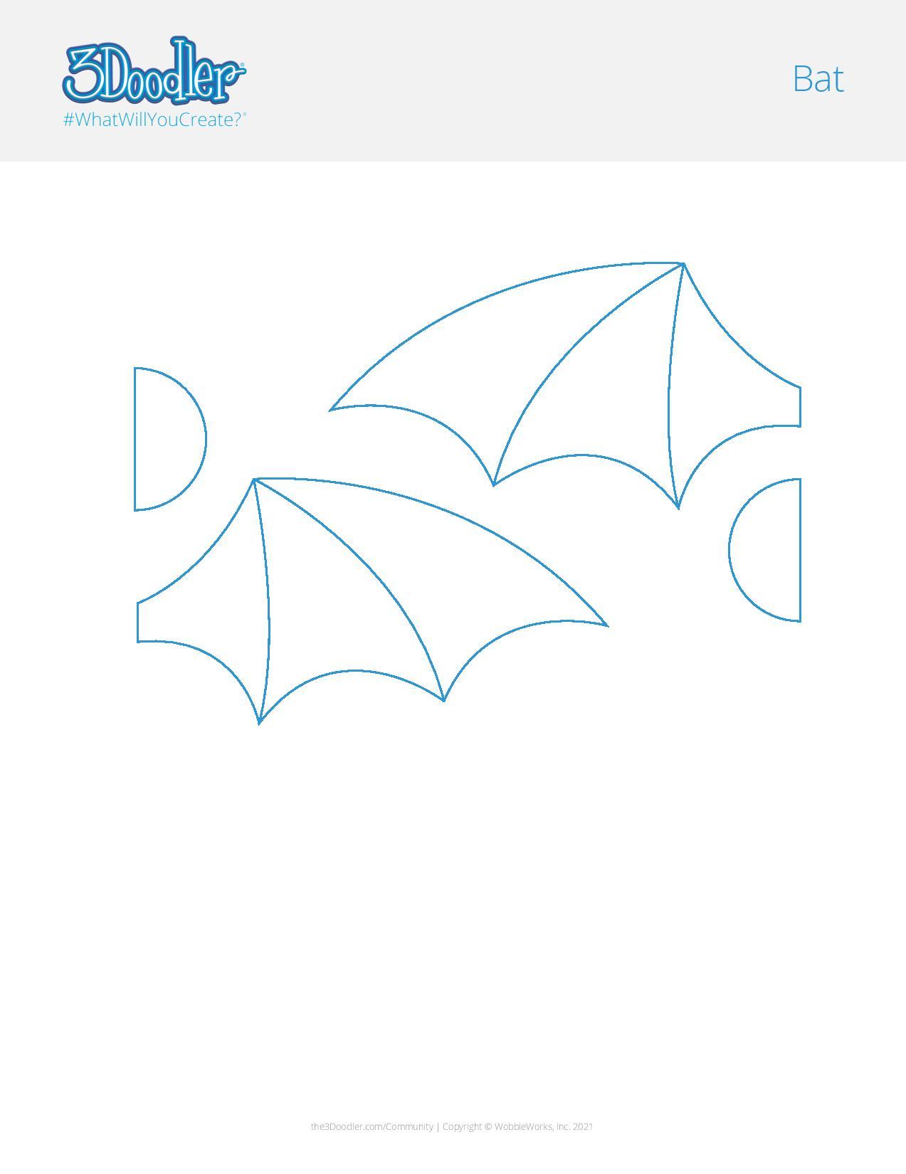 3D Pen Stencil Template Bat
